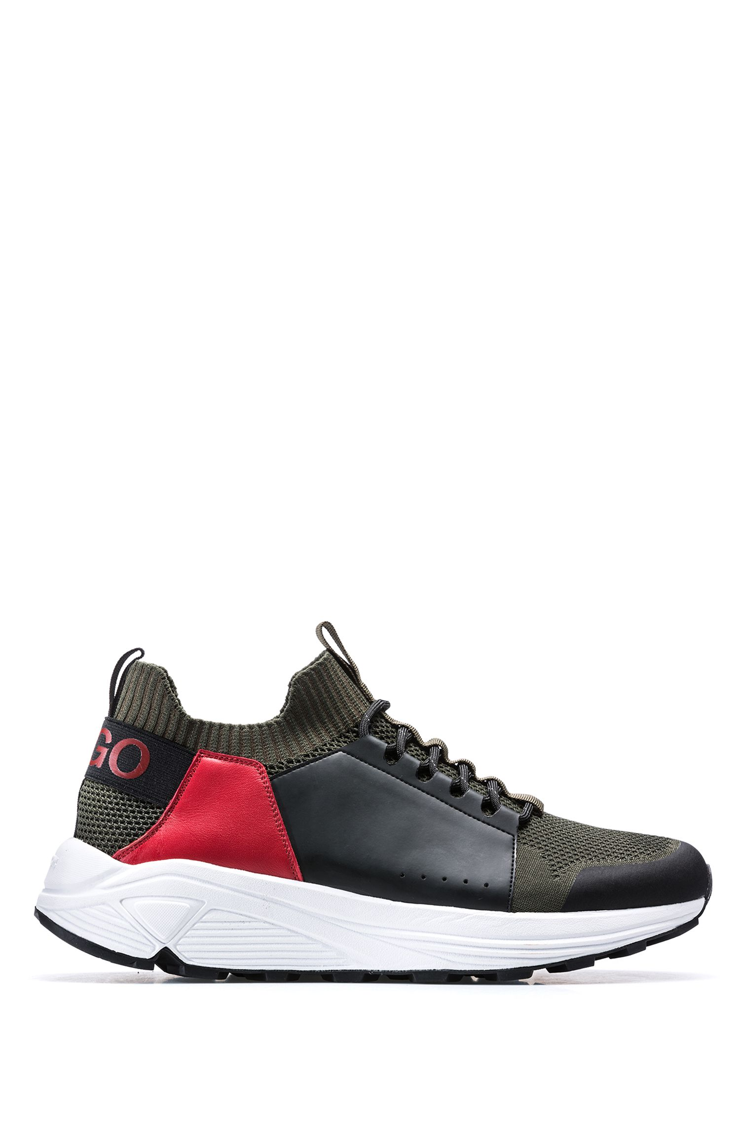 Modern lace-up sneakers with thick Vibram sole, Open Green