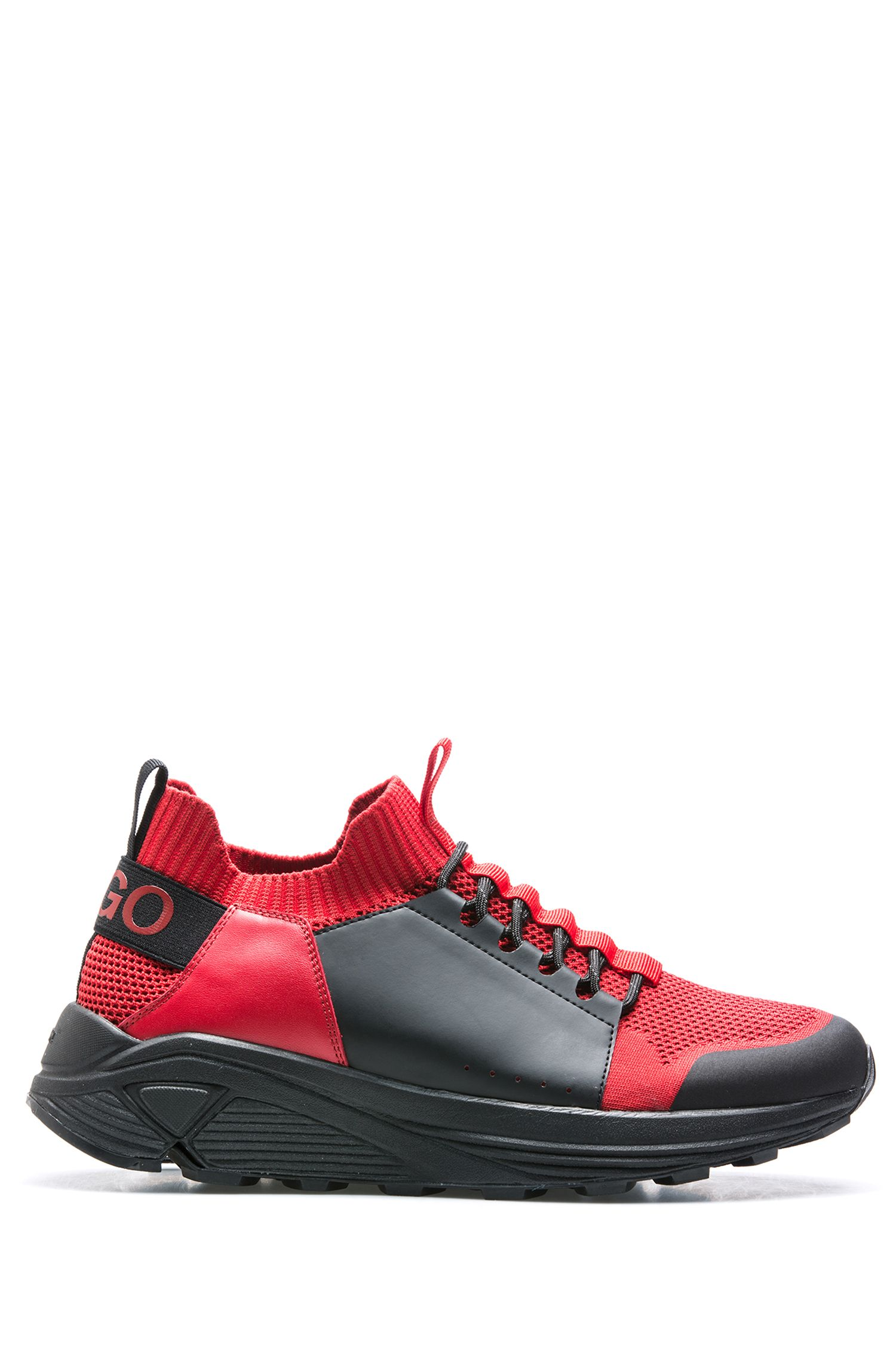Modern lace-up sneakers with thick Vibram sole, Dark Red