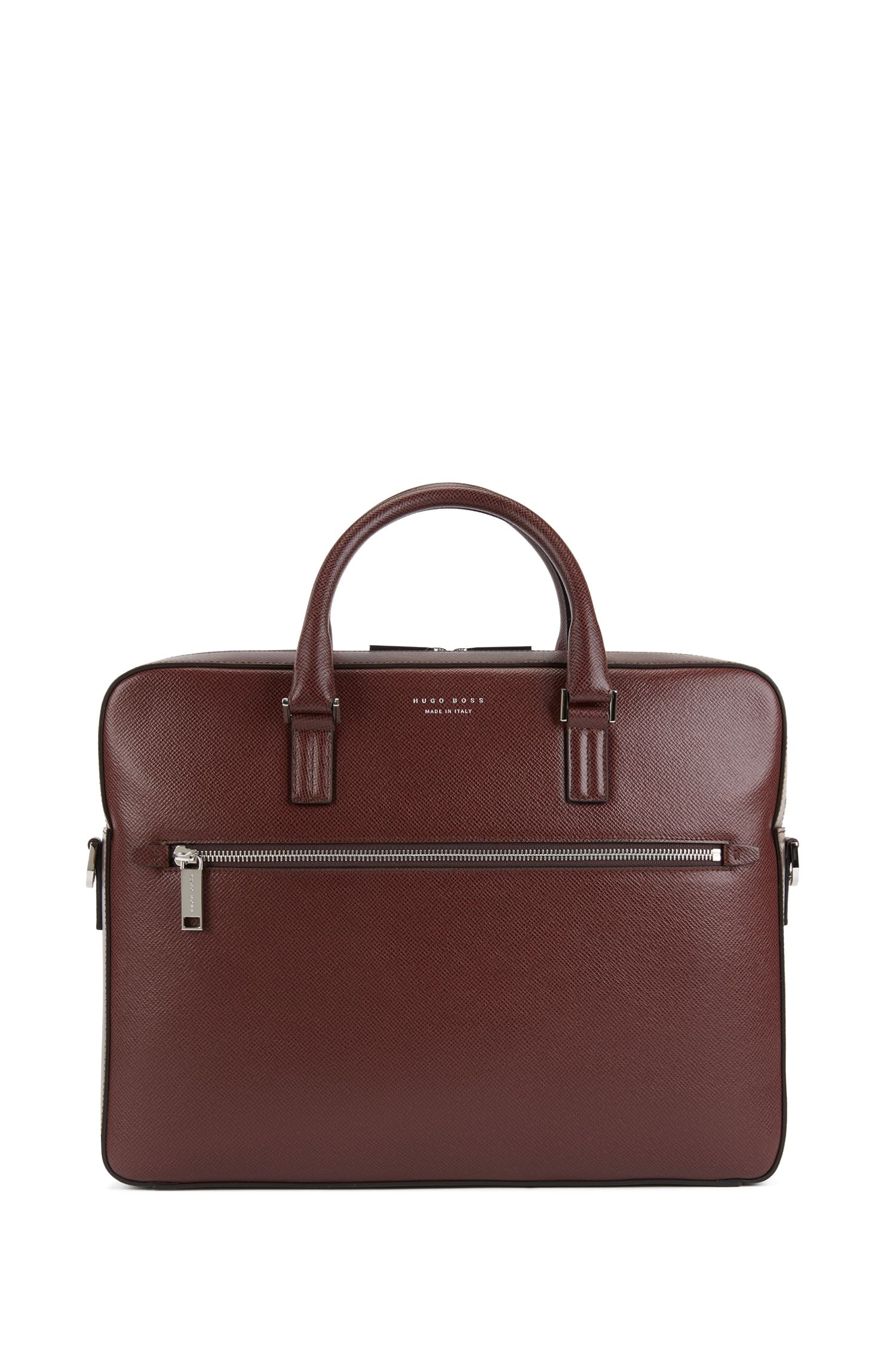 Signature Collection document case in printed Italian calf leather, Dark Red