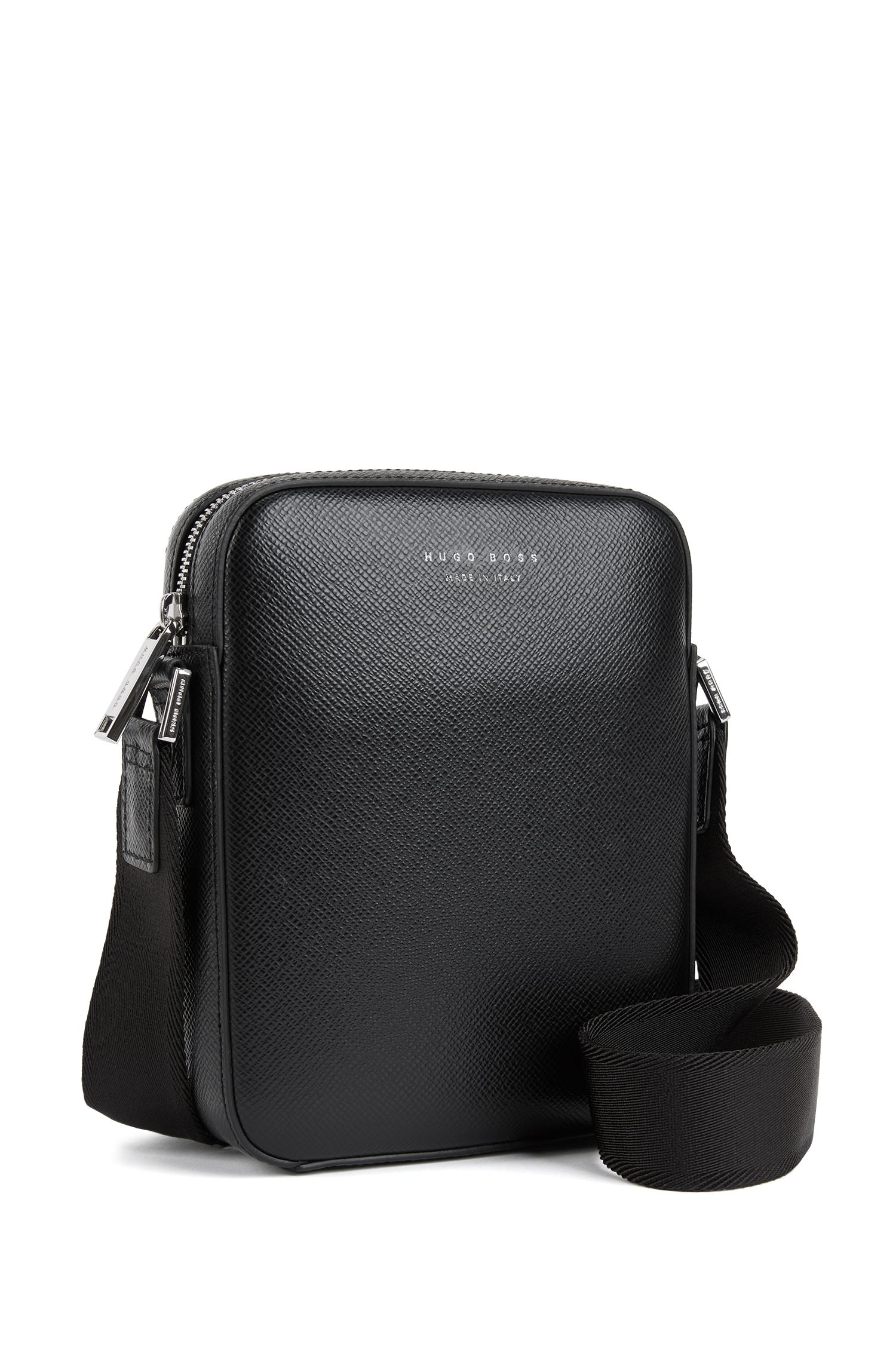 Signature Collection cross-body bag in structured Italian leather, Black
