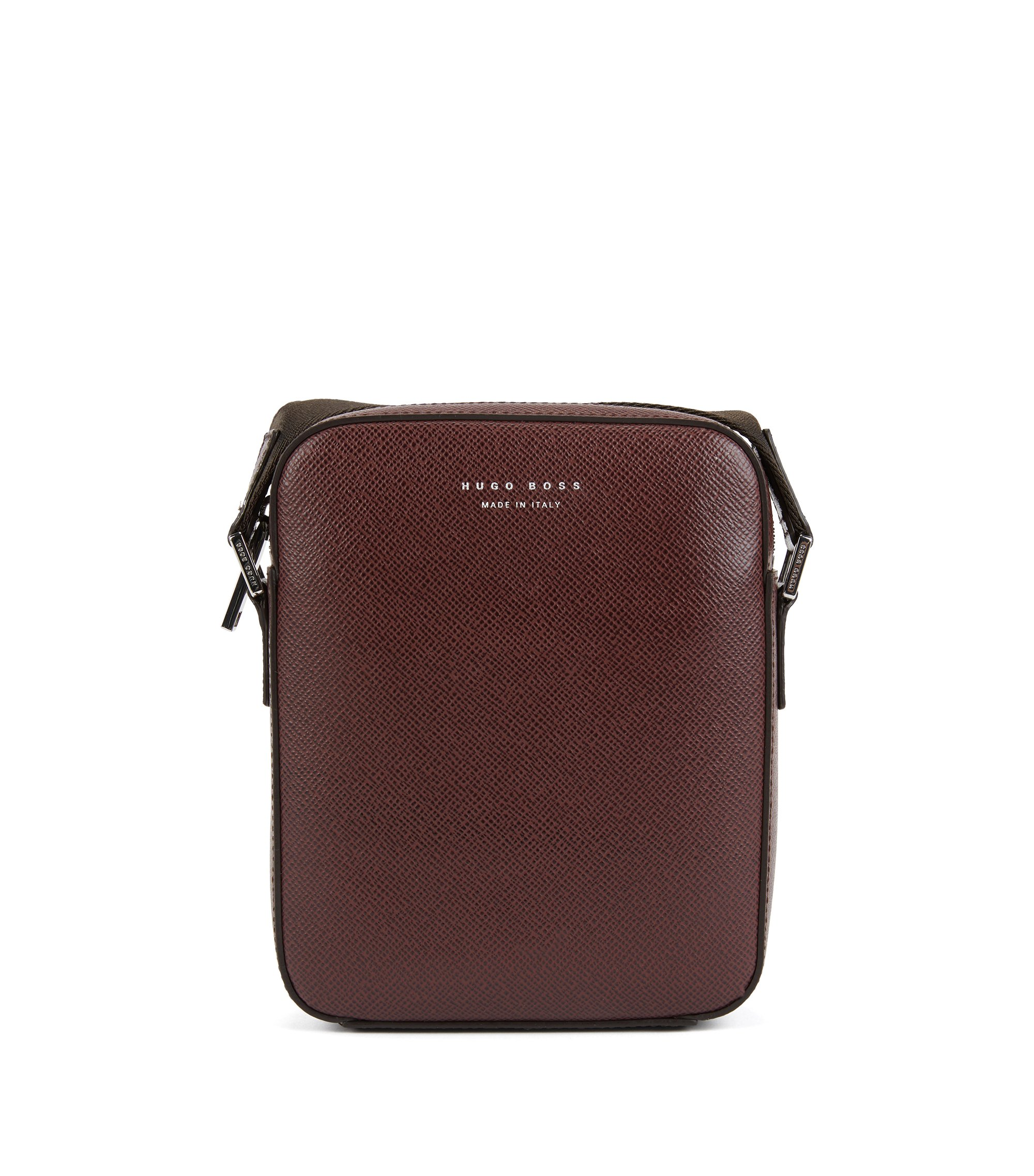 Signature Collection cross-body bag in structured Italian leather, Dark Red