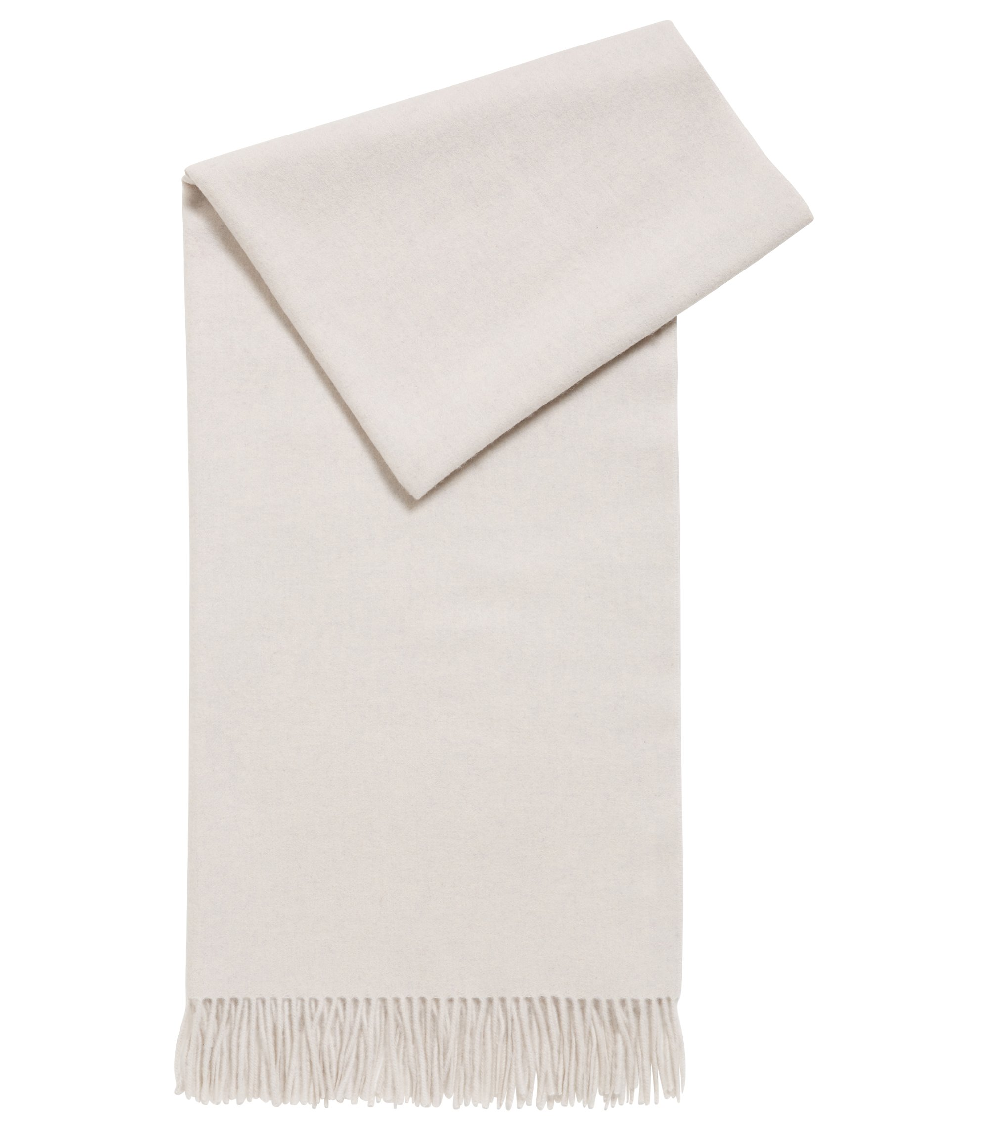 Soft-touch scarf in pure cashmere with fringed hem, Open White