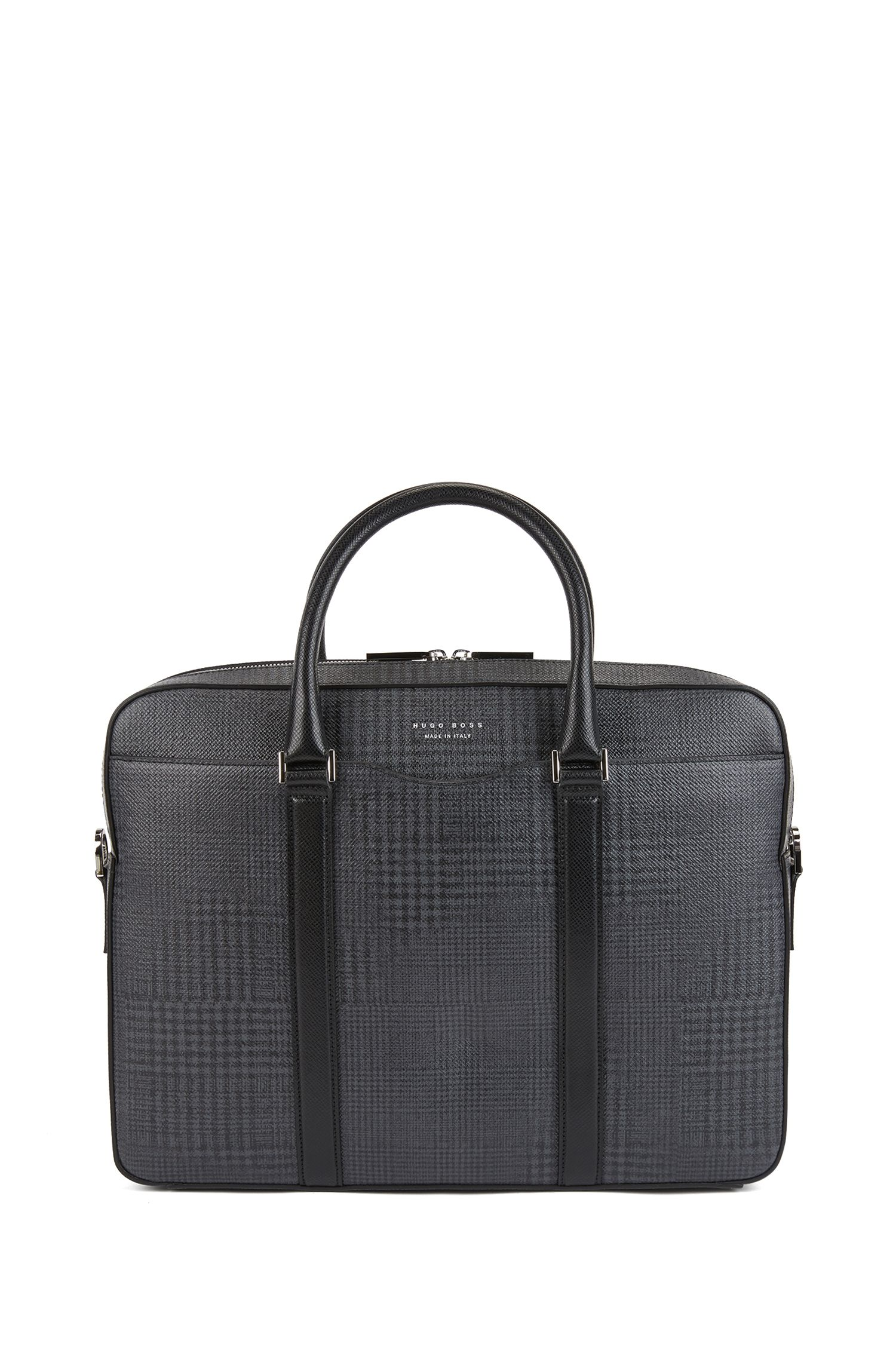 Signature Collection document case in check-printed calf leather, Patterned