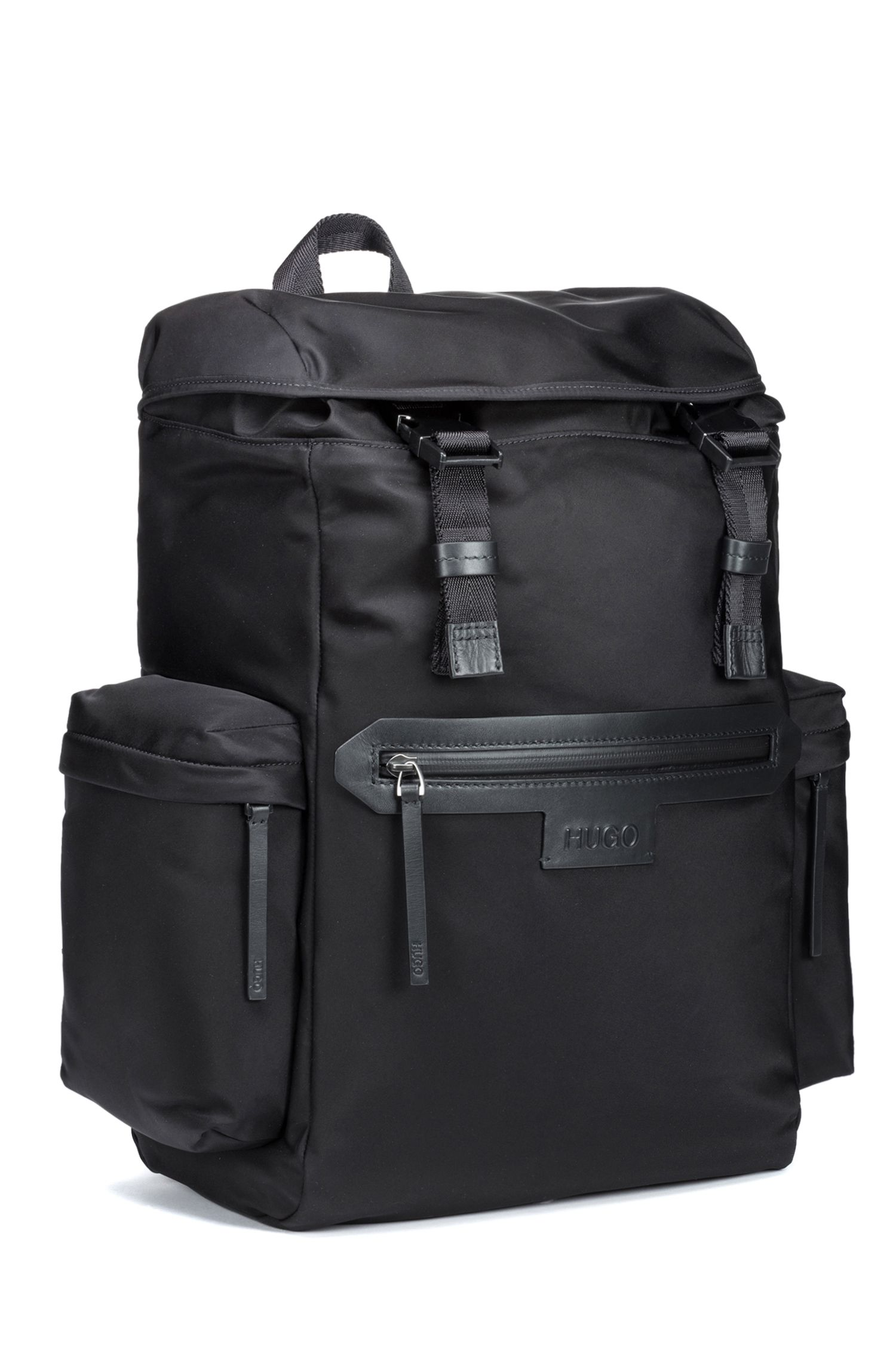 Backpack in nylon gabardine with leather trims, Black