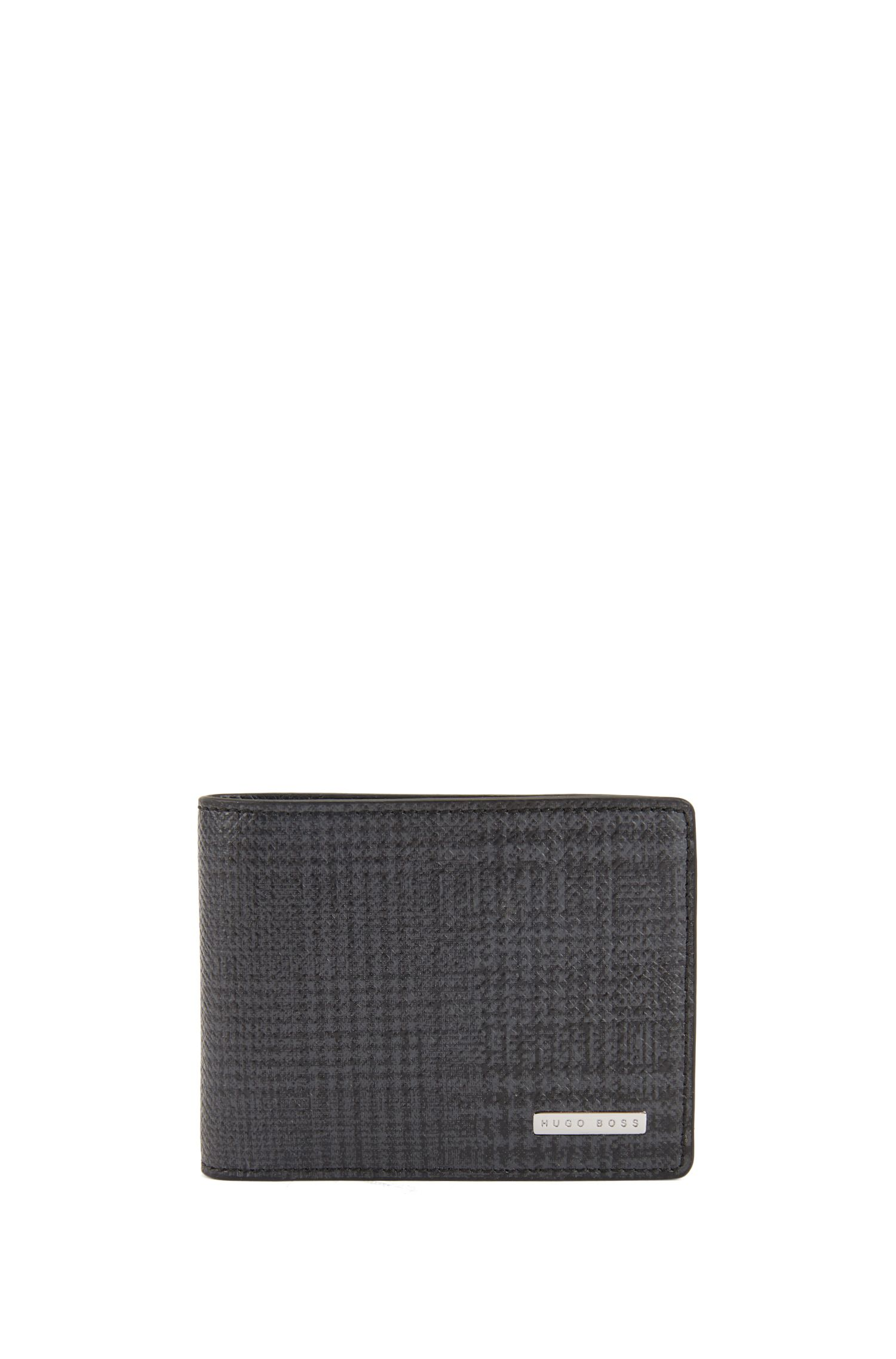 Signature Collection compact billfold wallet in check-print leather, Patterned