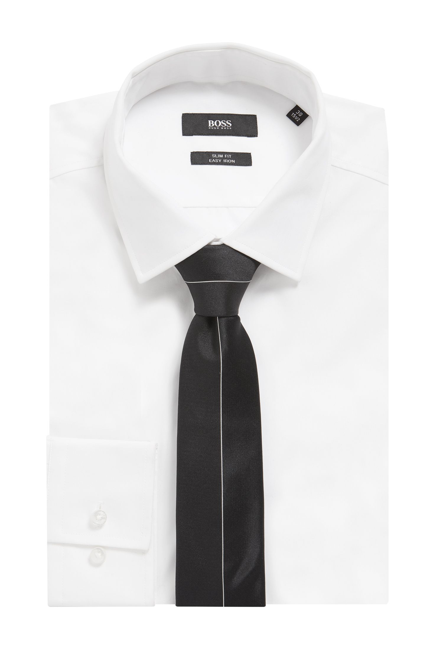 Silk-jacquard tie with placement embroidery, Black