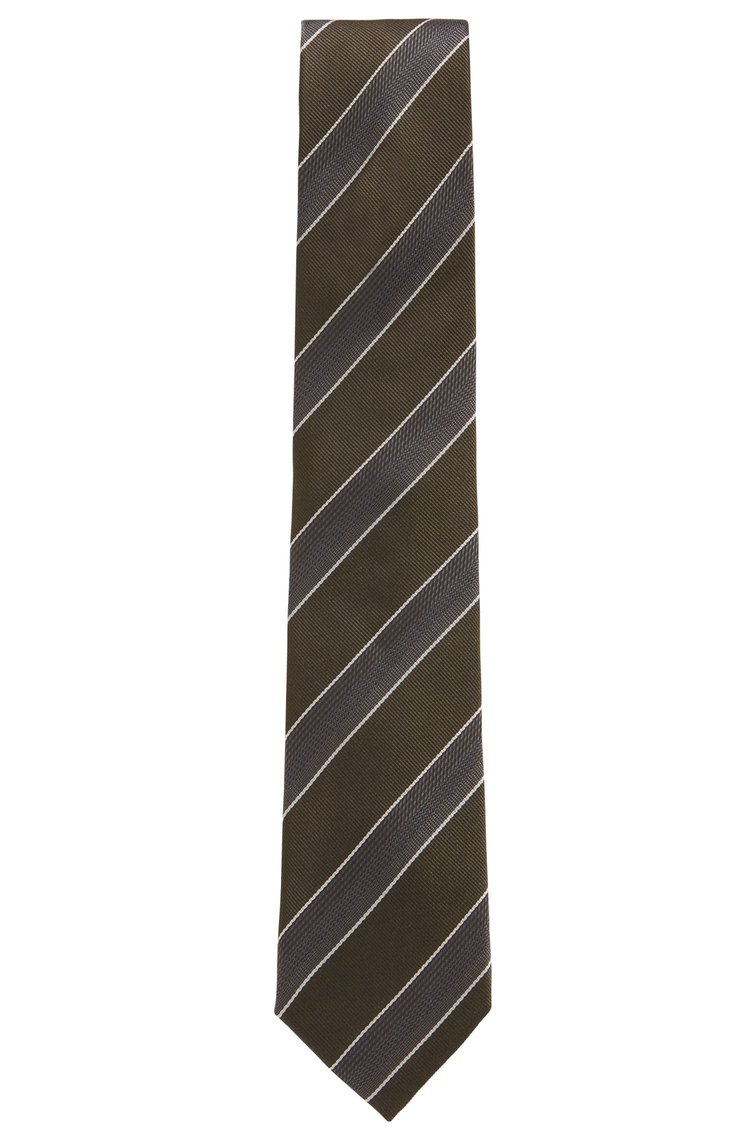 Silk jacquard tie in textured diagonal stripes, Dark Green
