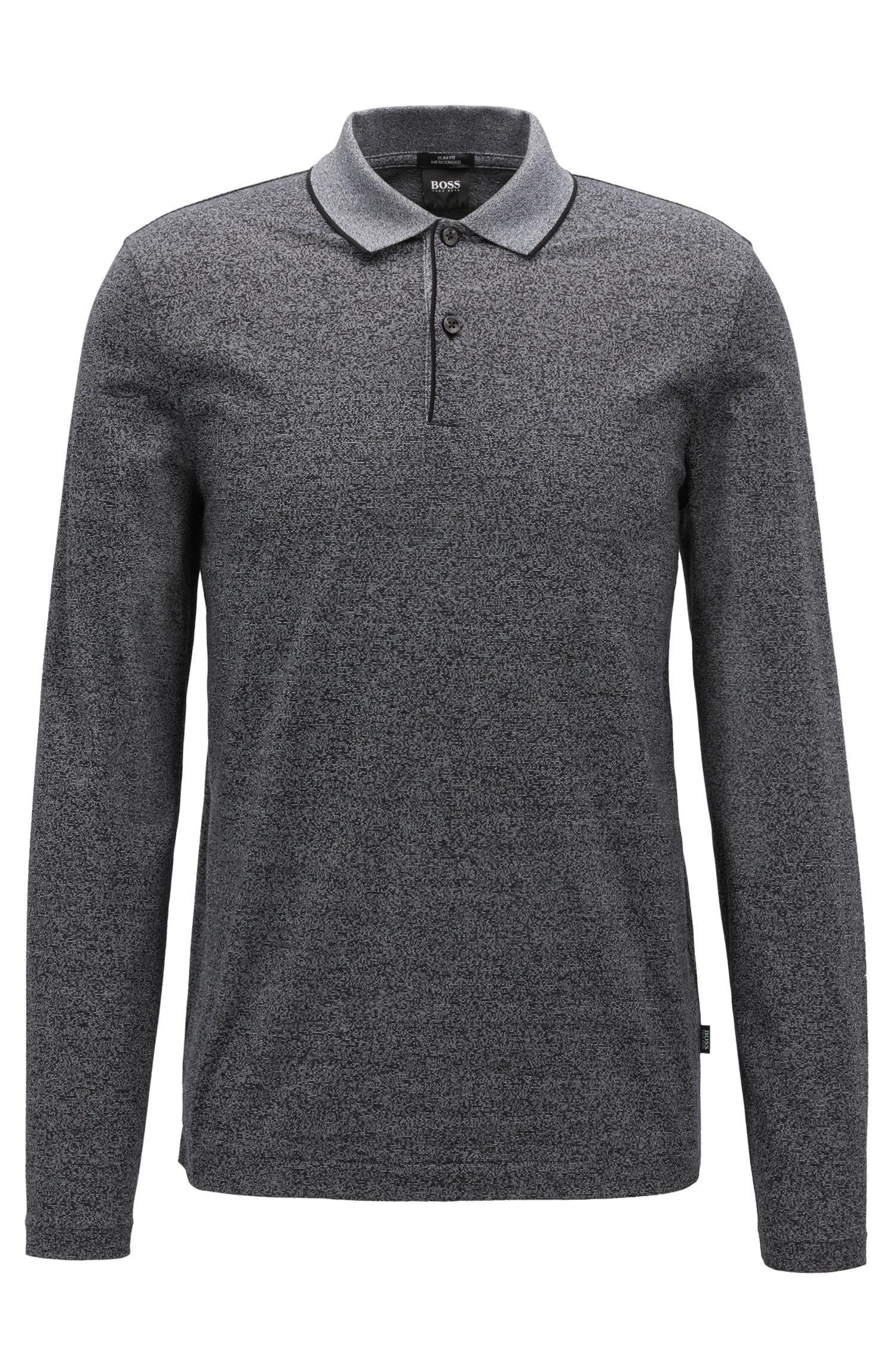 Slim-fit polo shirt in mercerized mouliné cotton, Black