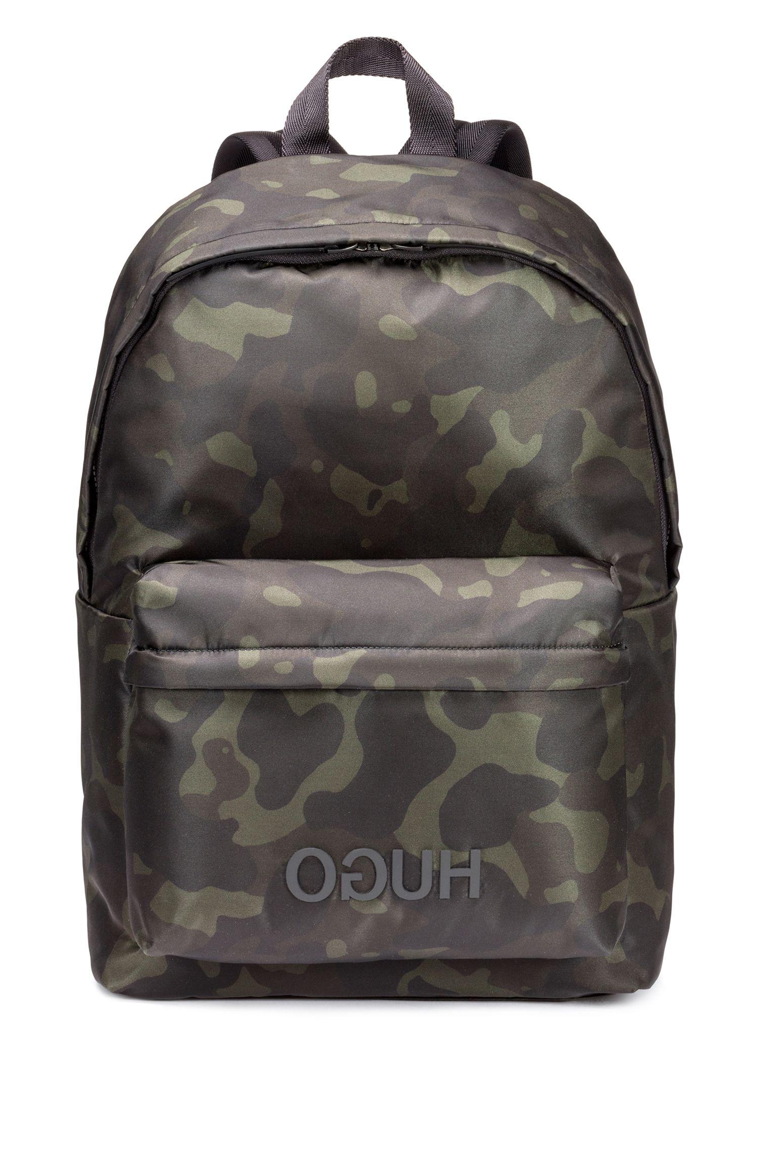 Camouflage-print backpack in nylon gabardine, Patterned