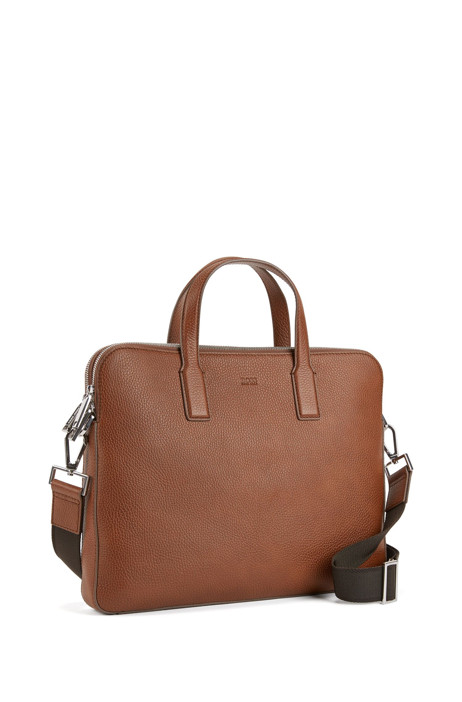 Double document case in grainy Italian leather, Light Brown
