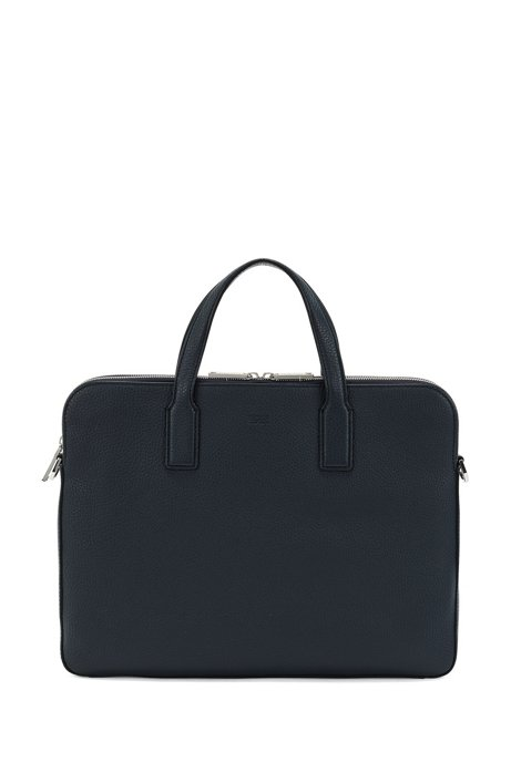 Double document case in grainy Italian leather, Dark Blue