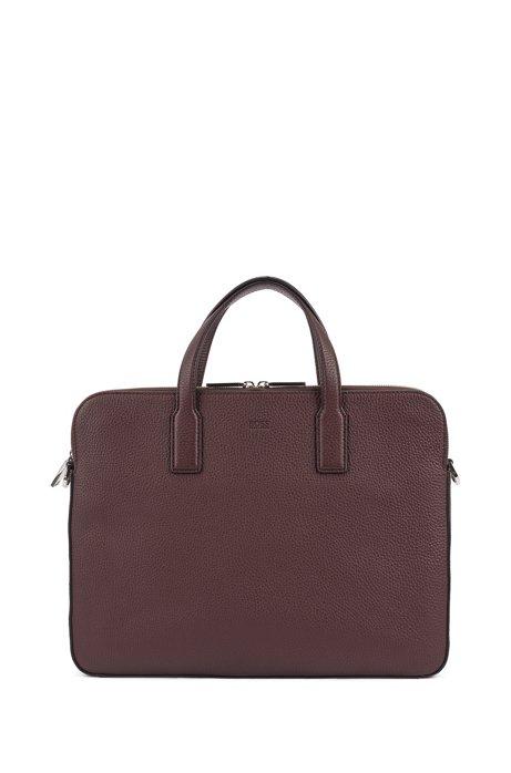 Double document case in grainy Italian leather, Dark Red
