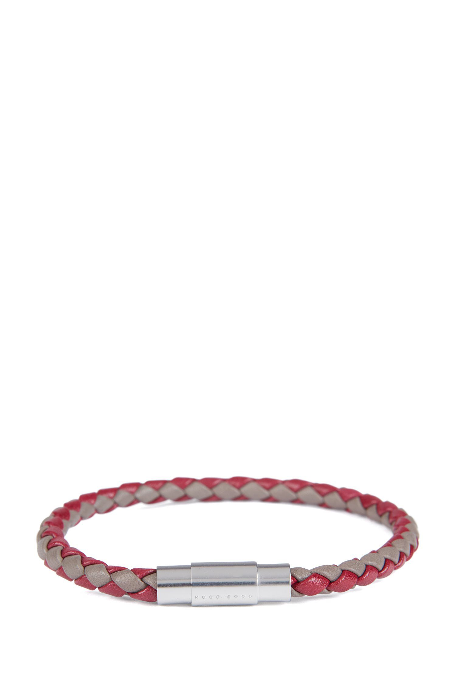 Italian-made single-wrap bracelet in woven calf leather, Dark Red