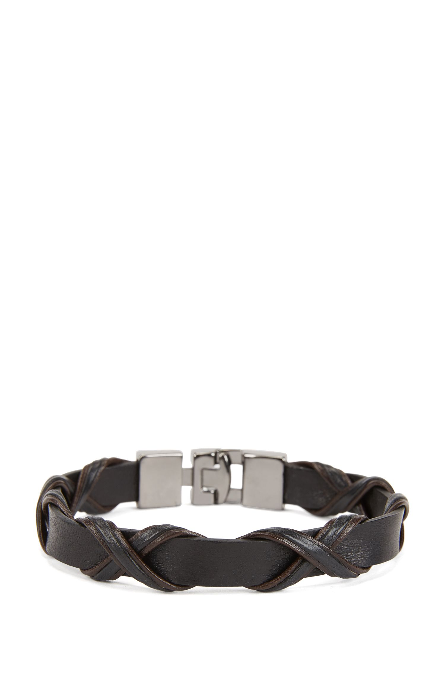 Italian-made leather bracelet with two-color braiding, Dark Brown