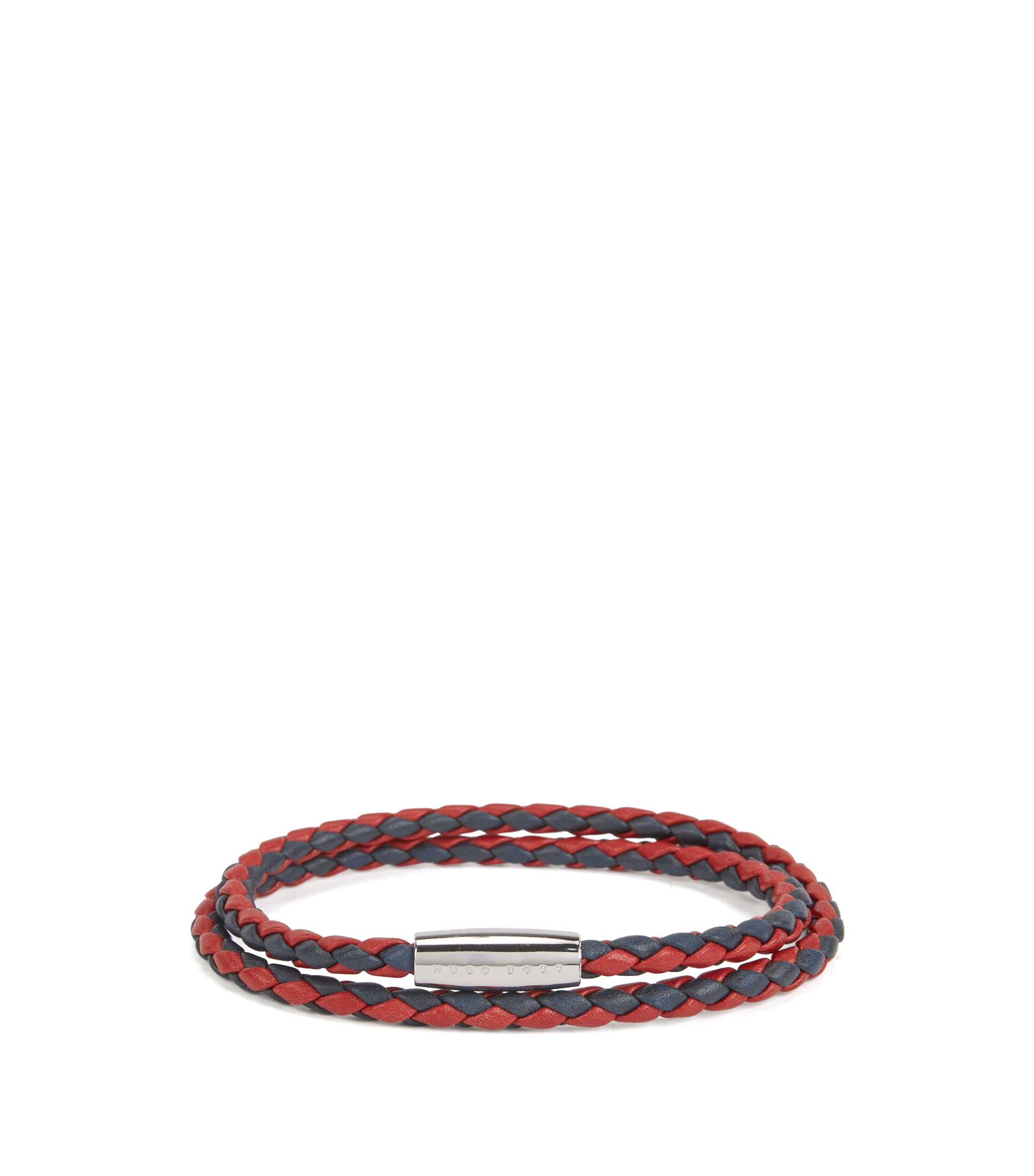 Italian-made bracelet in two-colored braided calf leather, Dark Red