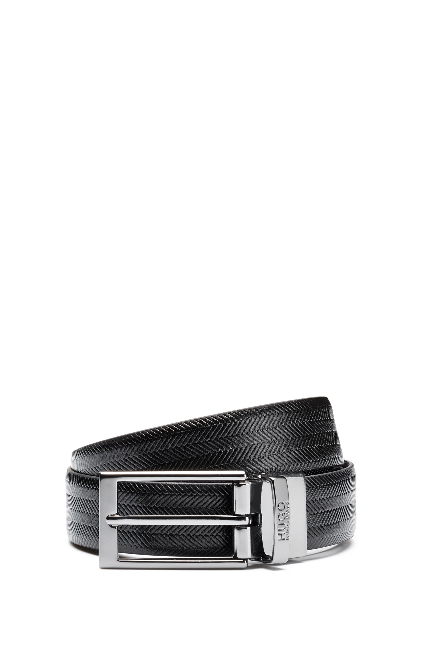Leather belt with embossed chevron pattern and polished hardware, Black