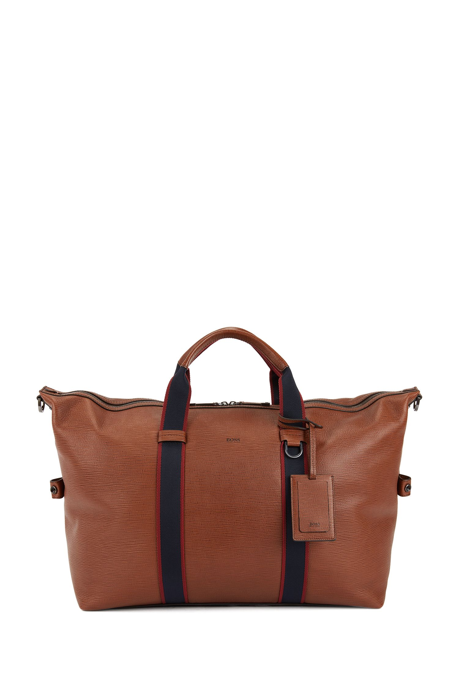 Zip-up holdall in embossed Italian calf leather, Brown