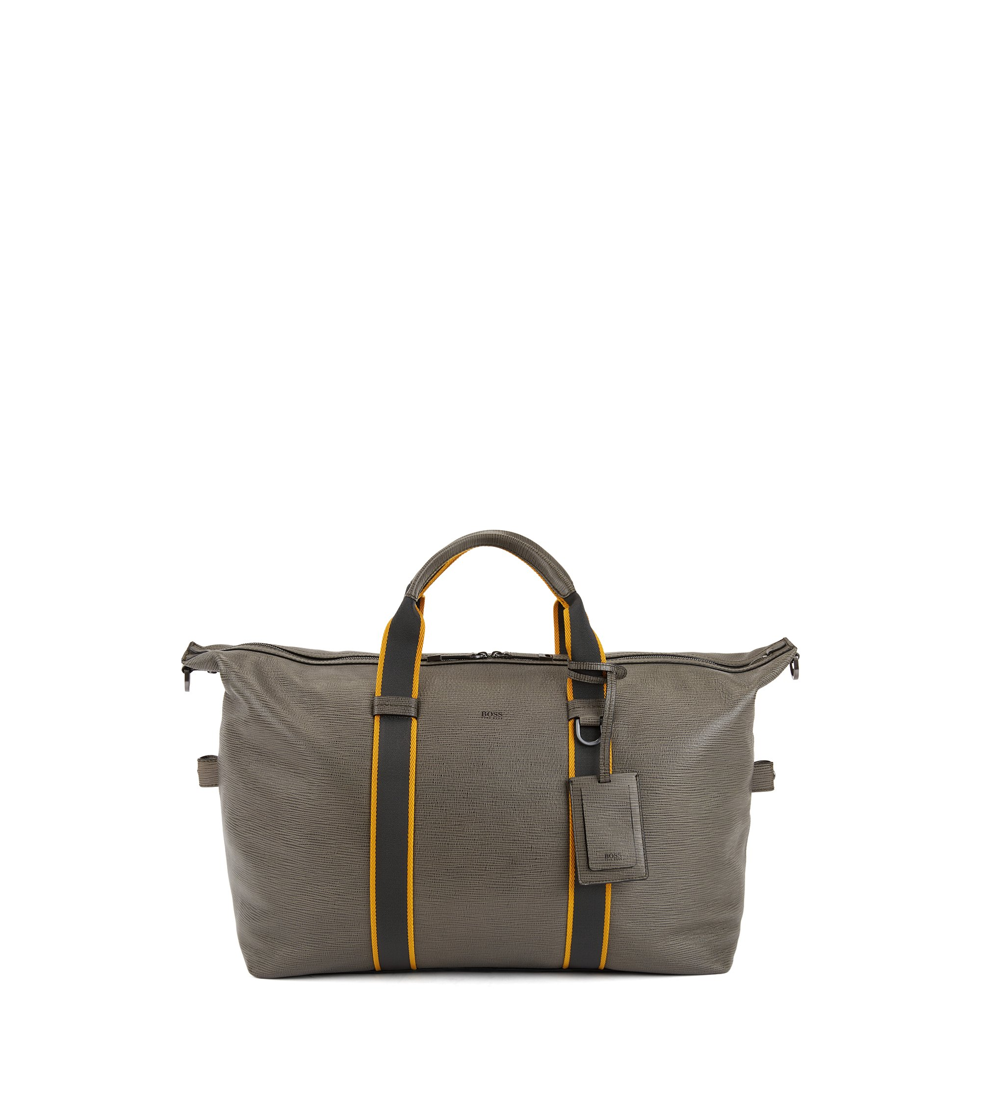 Zip-up holdall in embossed Italian calf leather, Dark Green
