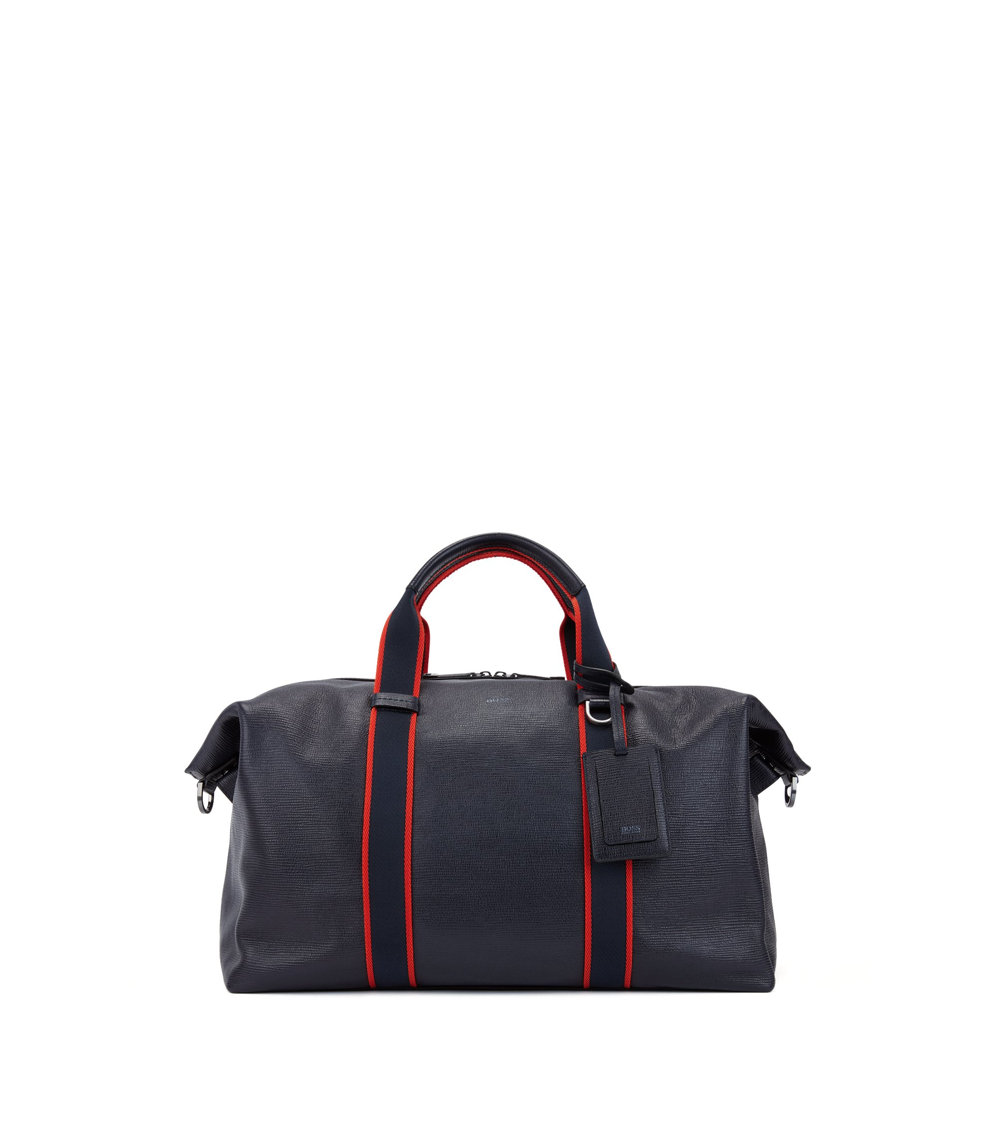 Zip-up holdall in embossed Italian calf leather, Dark Blue