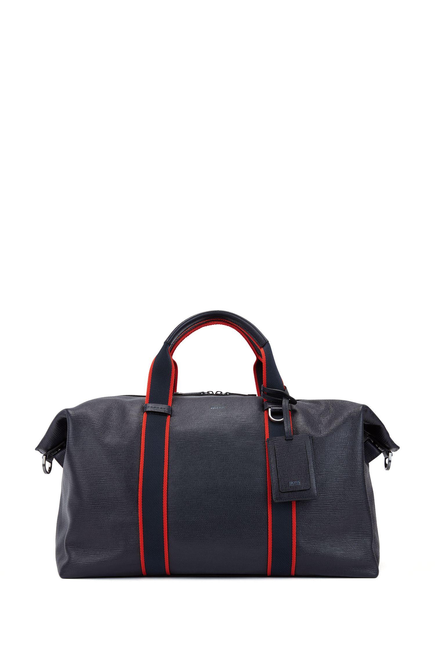 Zip-up holdall in embossed Italian calf leather, Dark Blue