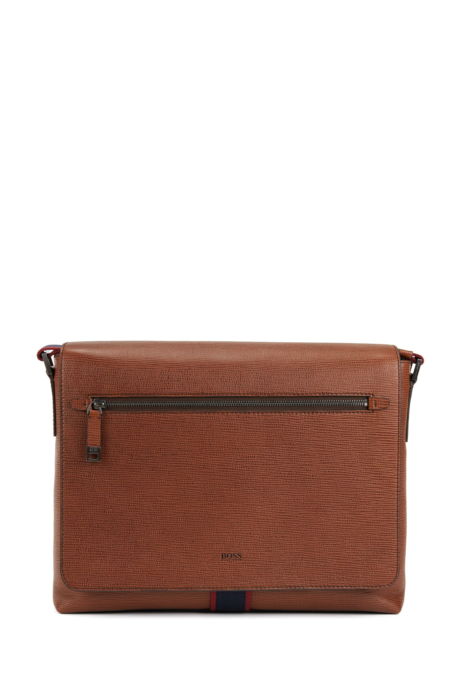 Printed Italian calf-leather messenger bag with webbing detail, Brown
