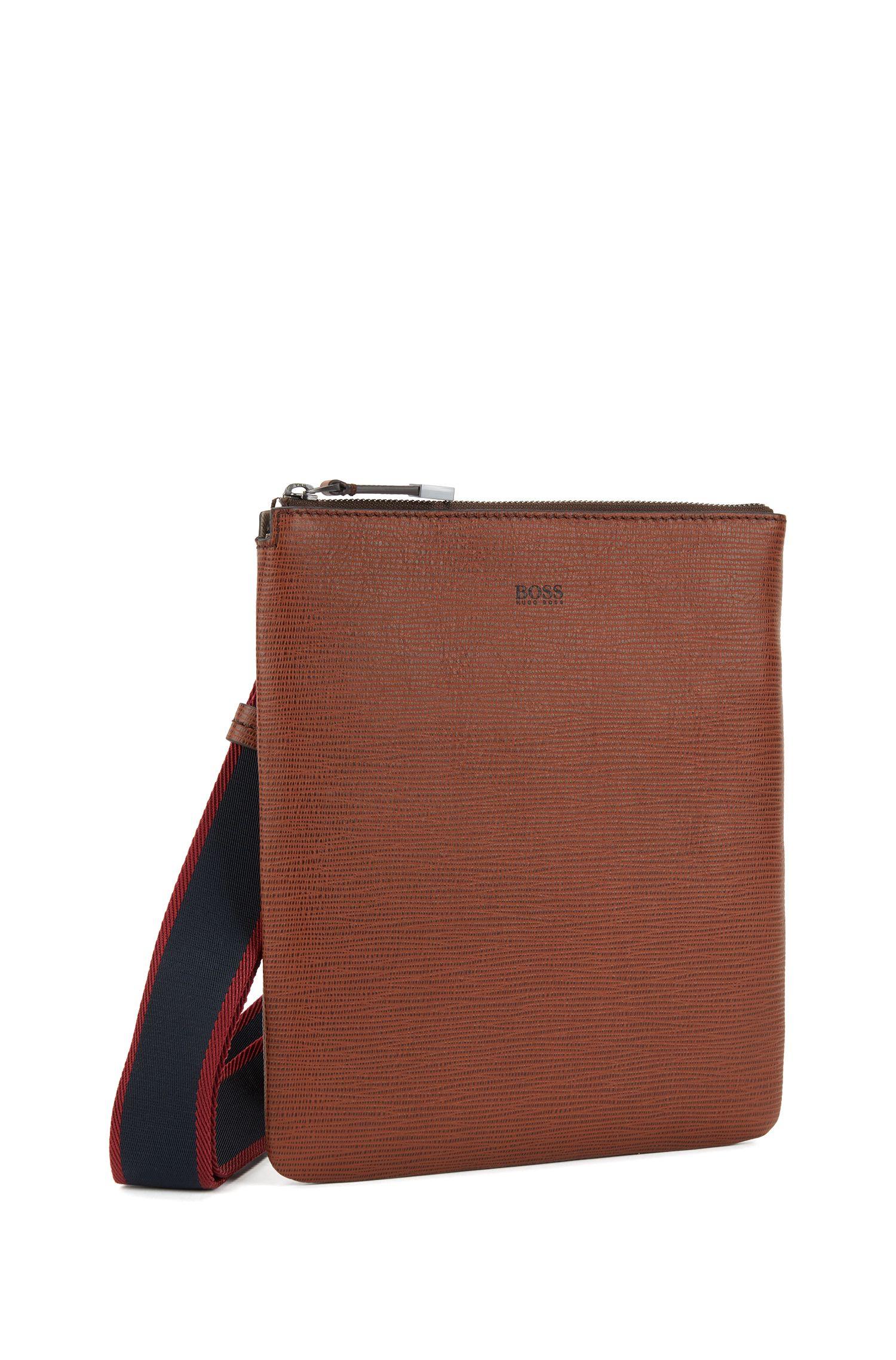 Envelope bag in printed Italian calf leather, Brown