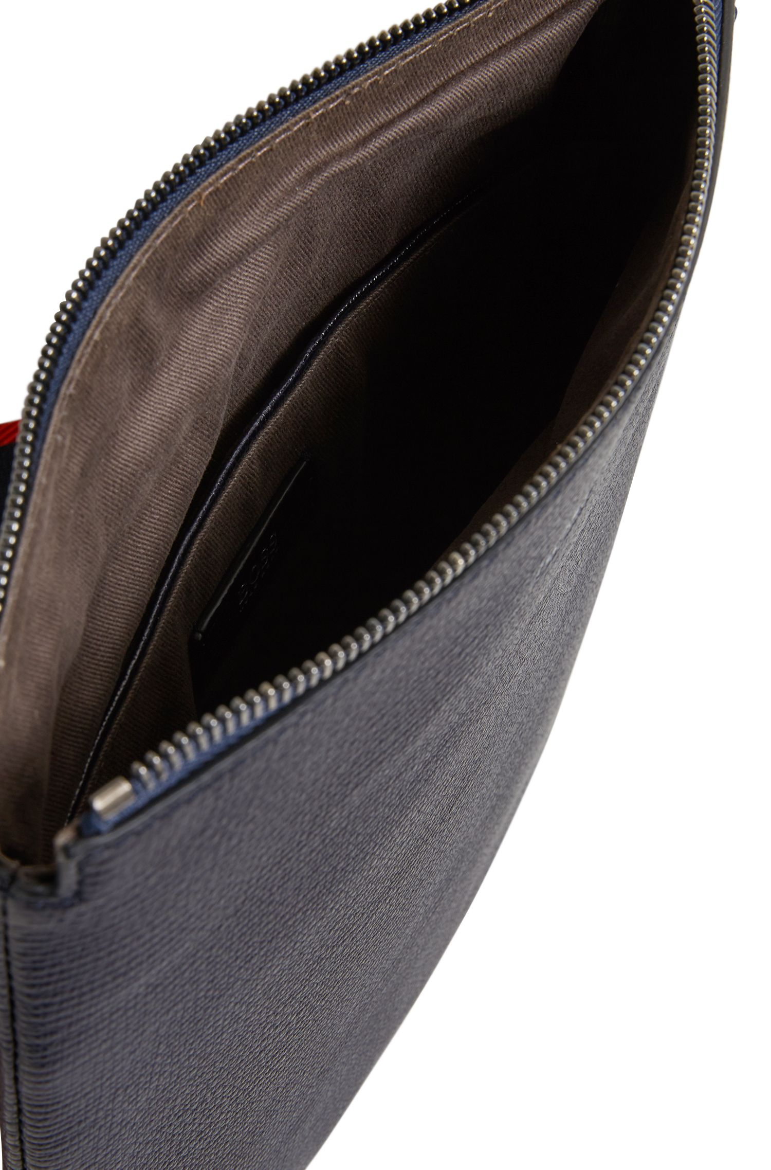 Envelope bag in printed Italian calf leather, Dark Blue