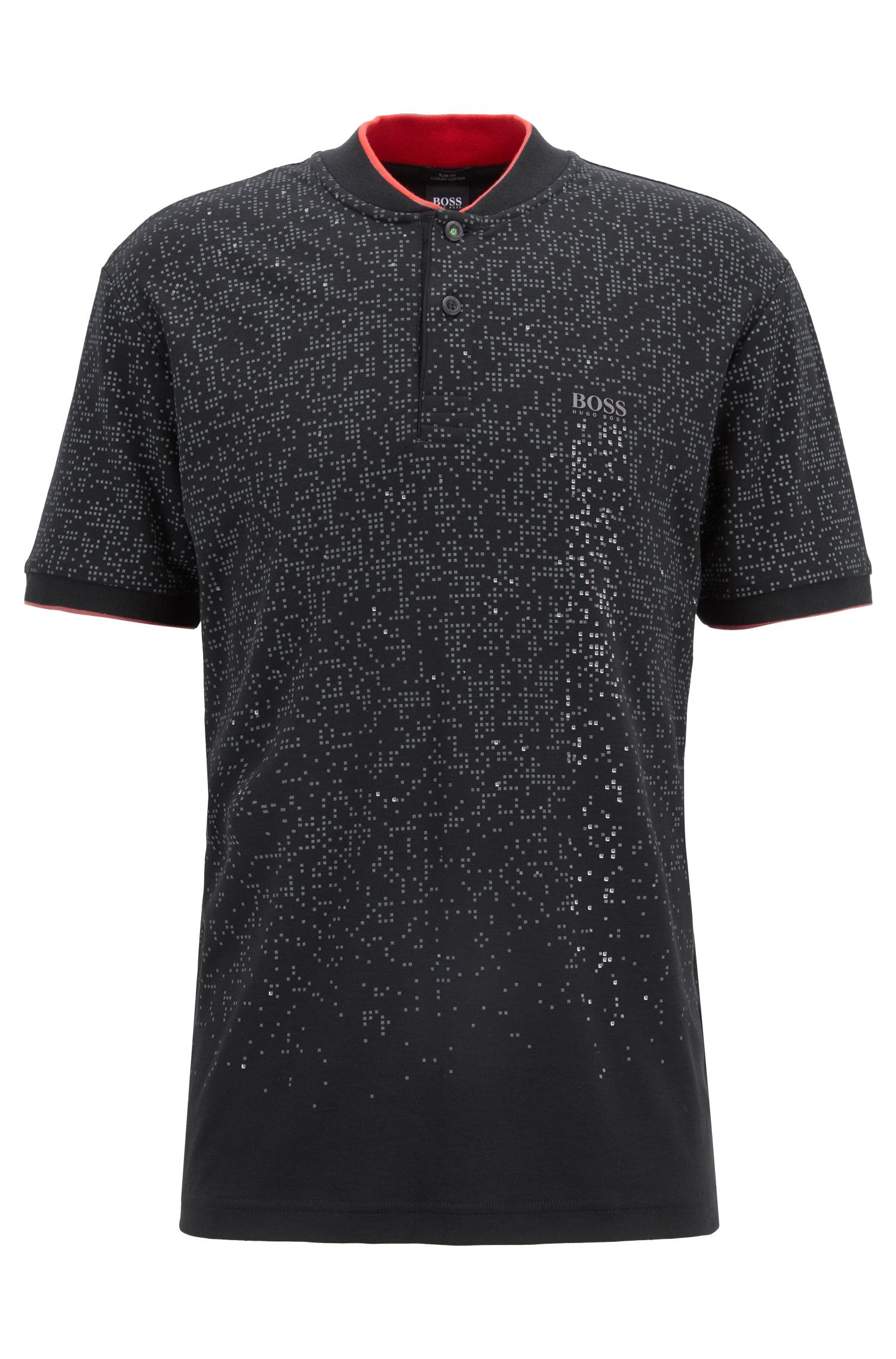 Stand-collar polo shirt in patterned interlock cotton, Black