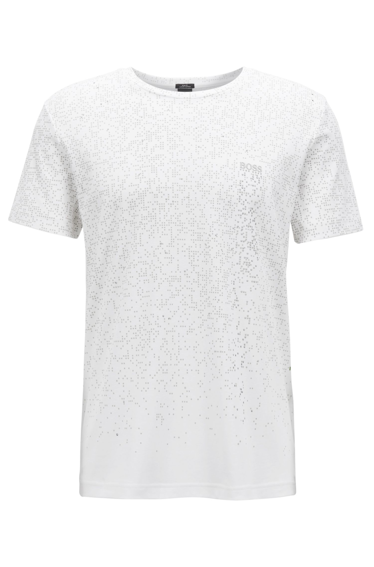 Slim-fit cotton T-shirt with pixelated pattern, White