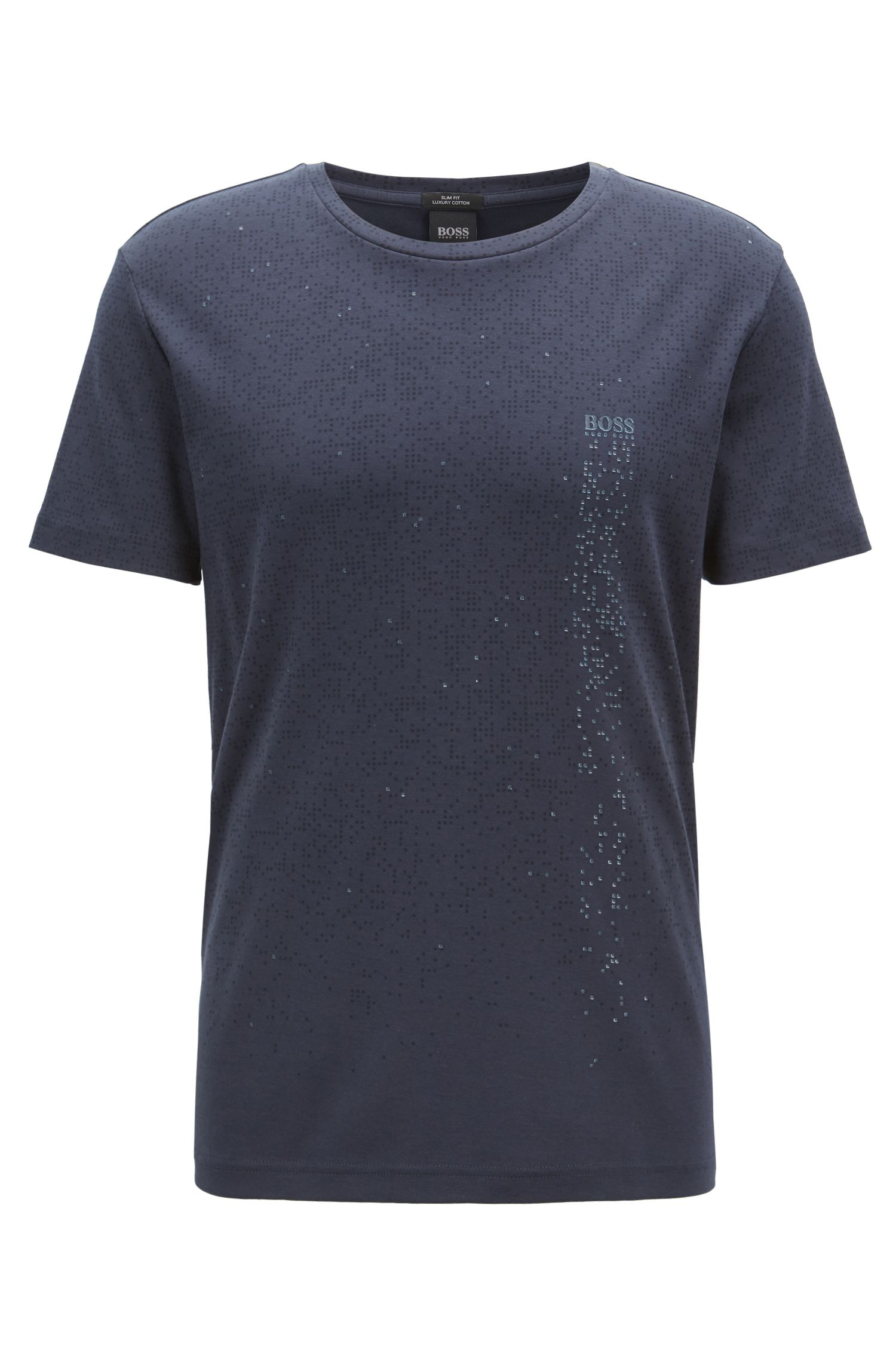 Slim-fit cotton T-shirt with pixelated pattern, Dark Blue
