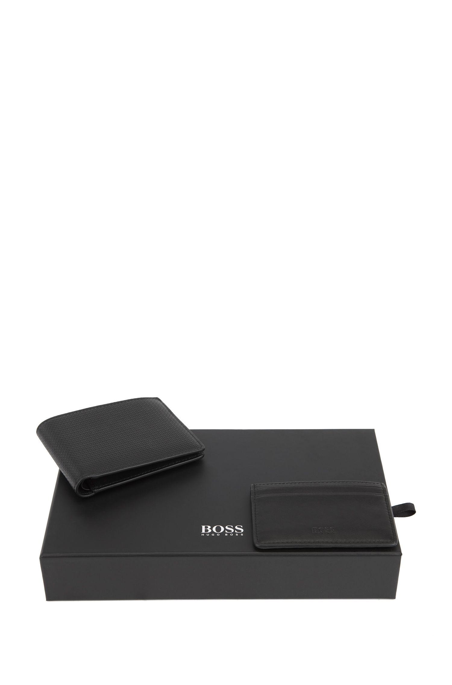 Monogram-embossed leather wallet and card holder gift set, Black