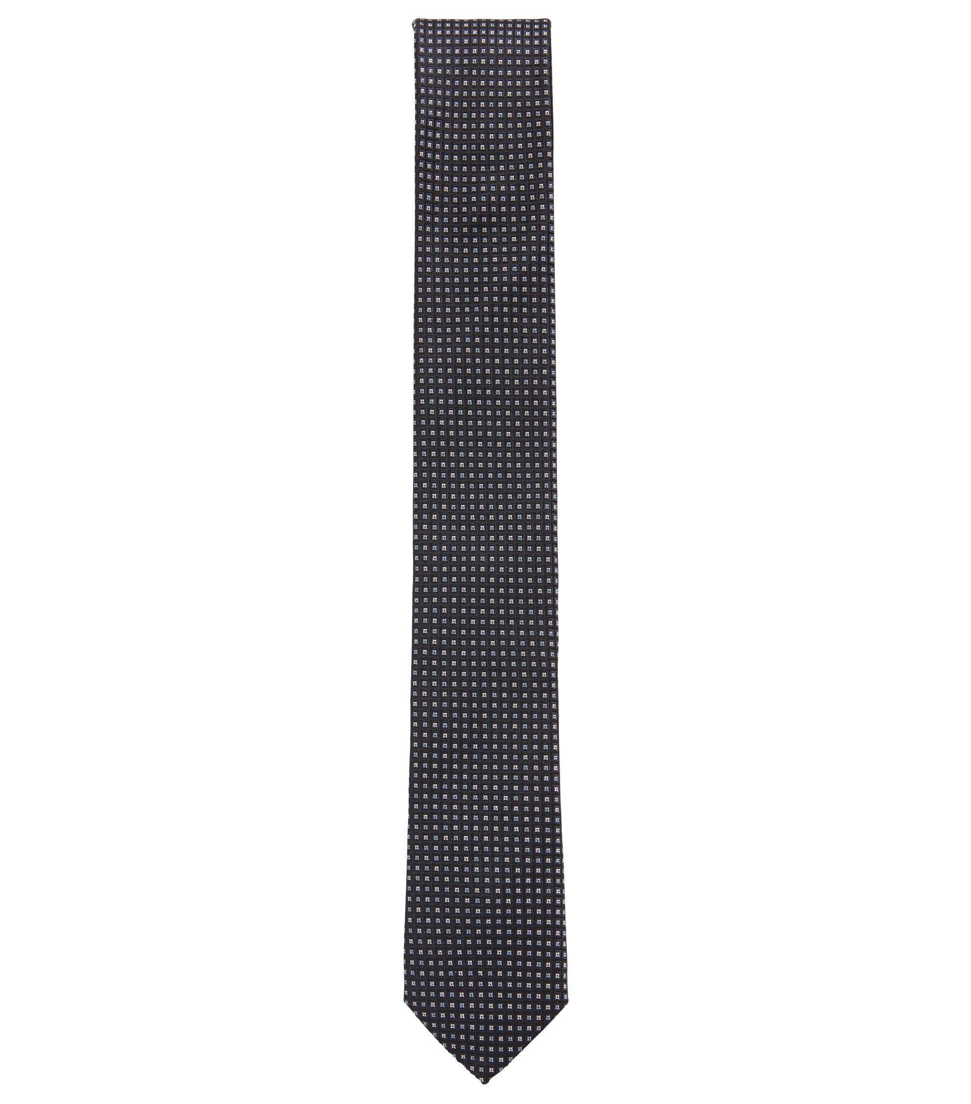 Italian-made silk tie with jacquard micro check pattern, Open Blue