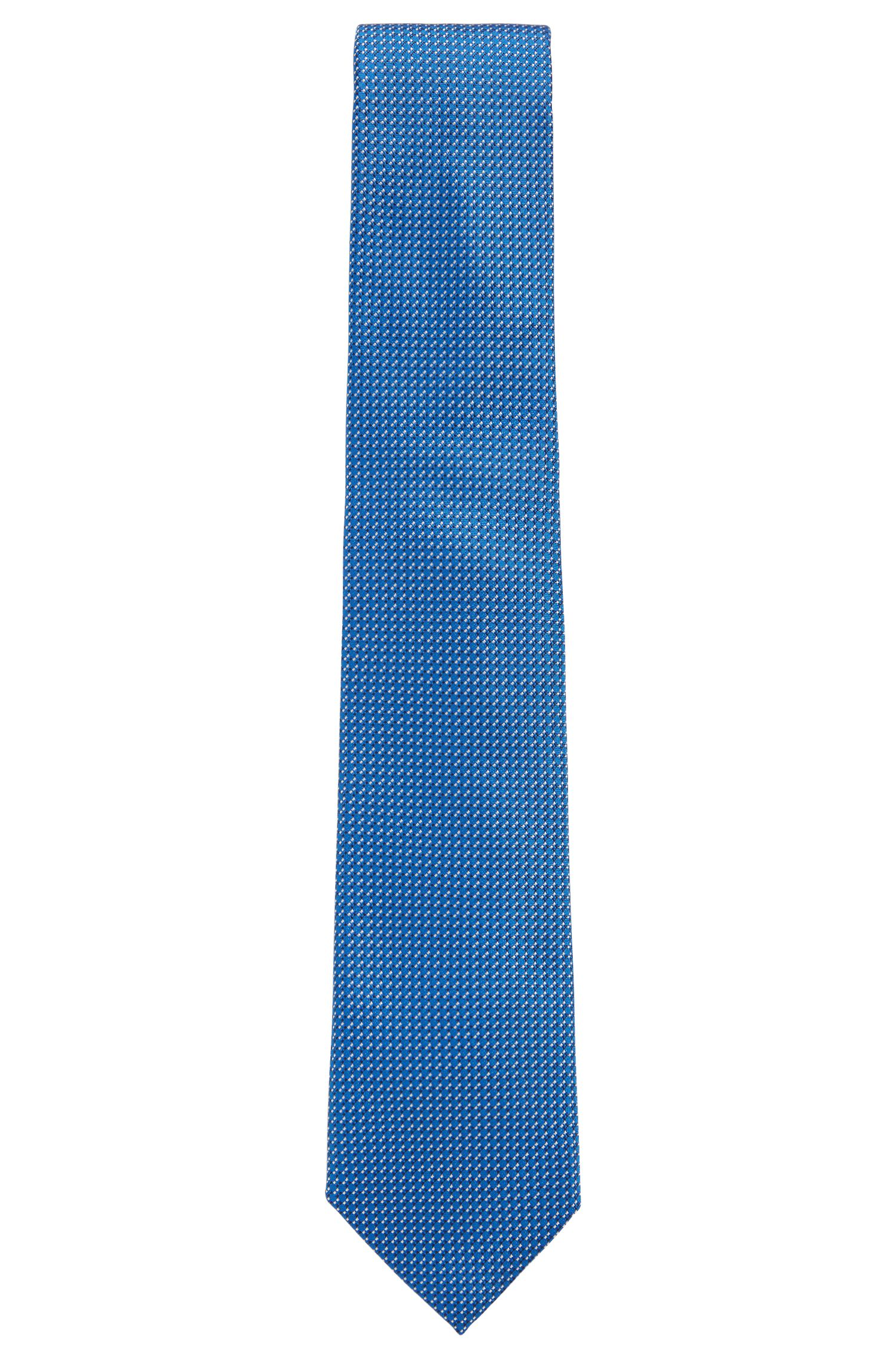 Italian-made patterned tie in silk jacquard, Blue