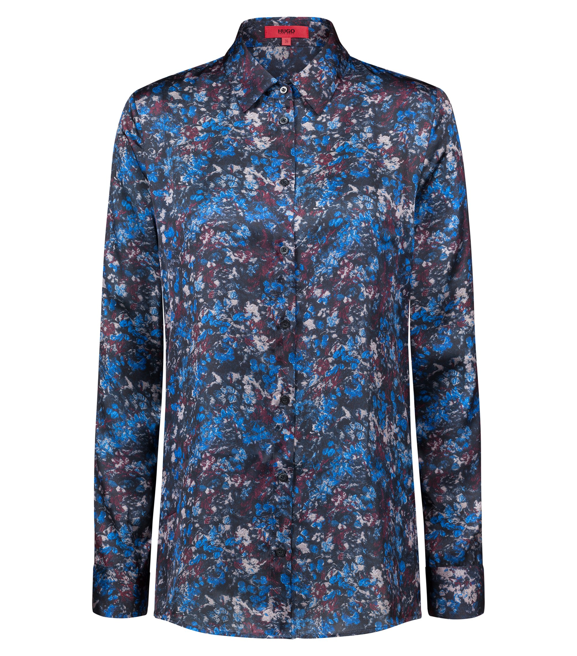 Regular-fit satin blouse with floral camouflage print, Patterned