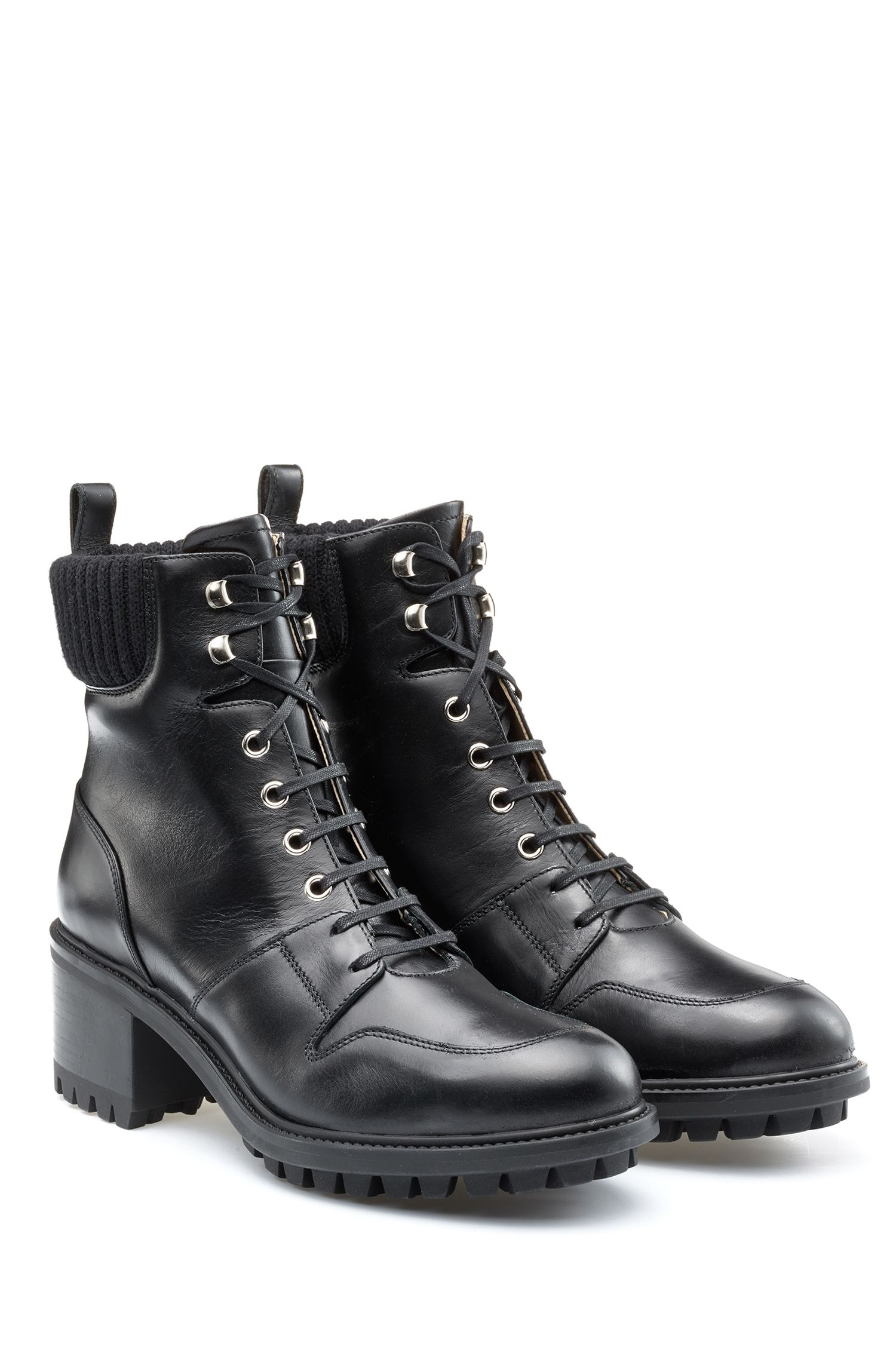 Lace-up calf-leather boots with lug sole, Black