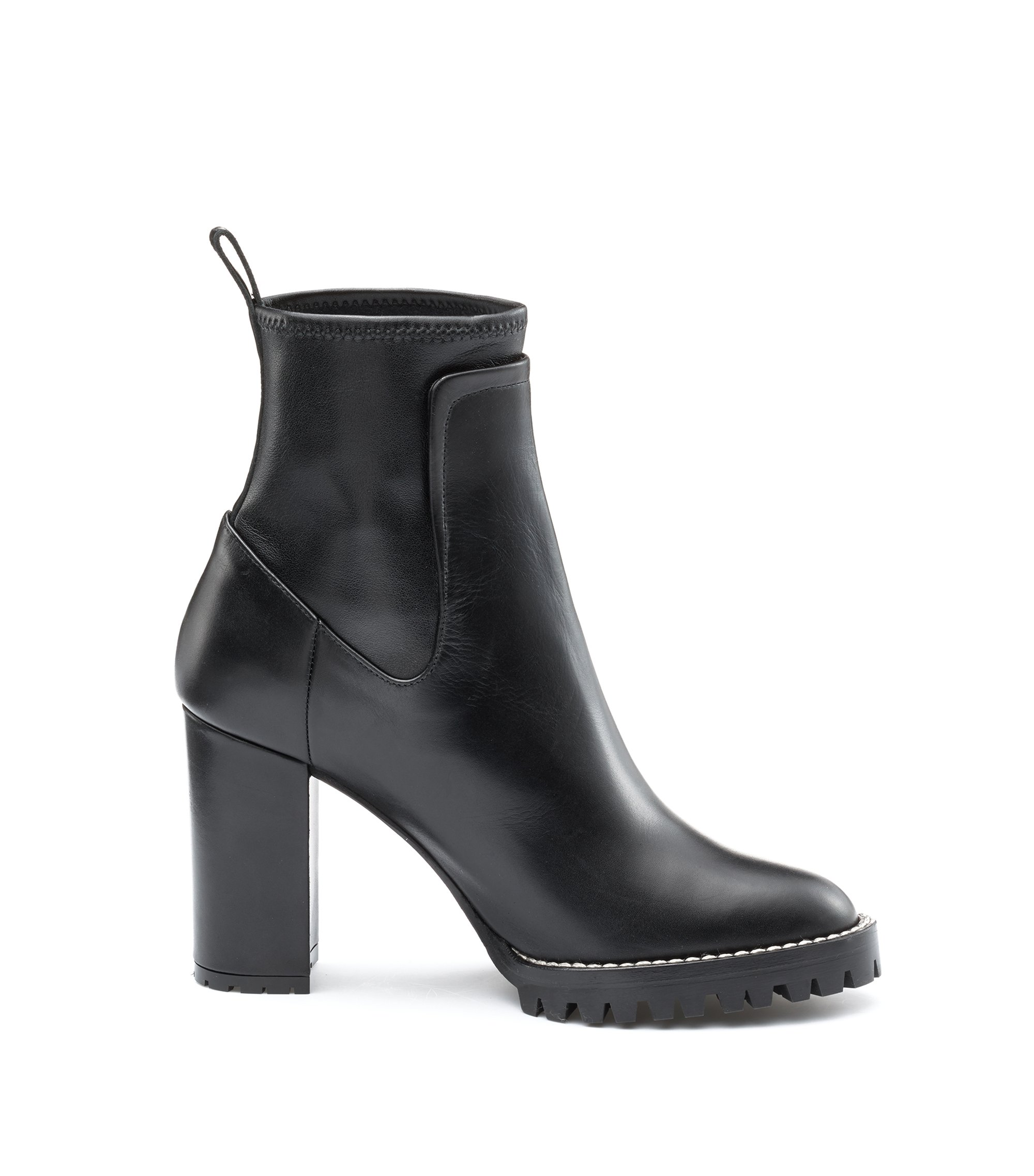 Heeled calf-leather boots with lug sole, Black