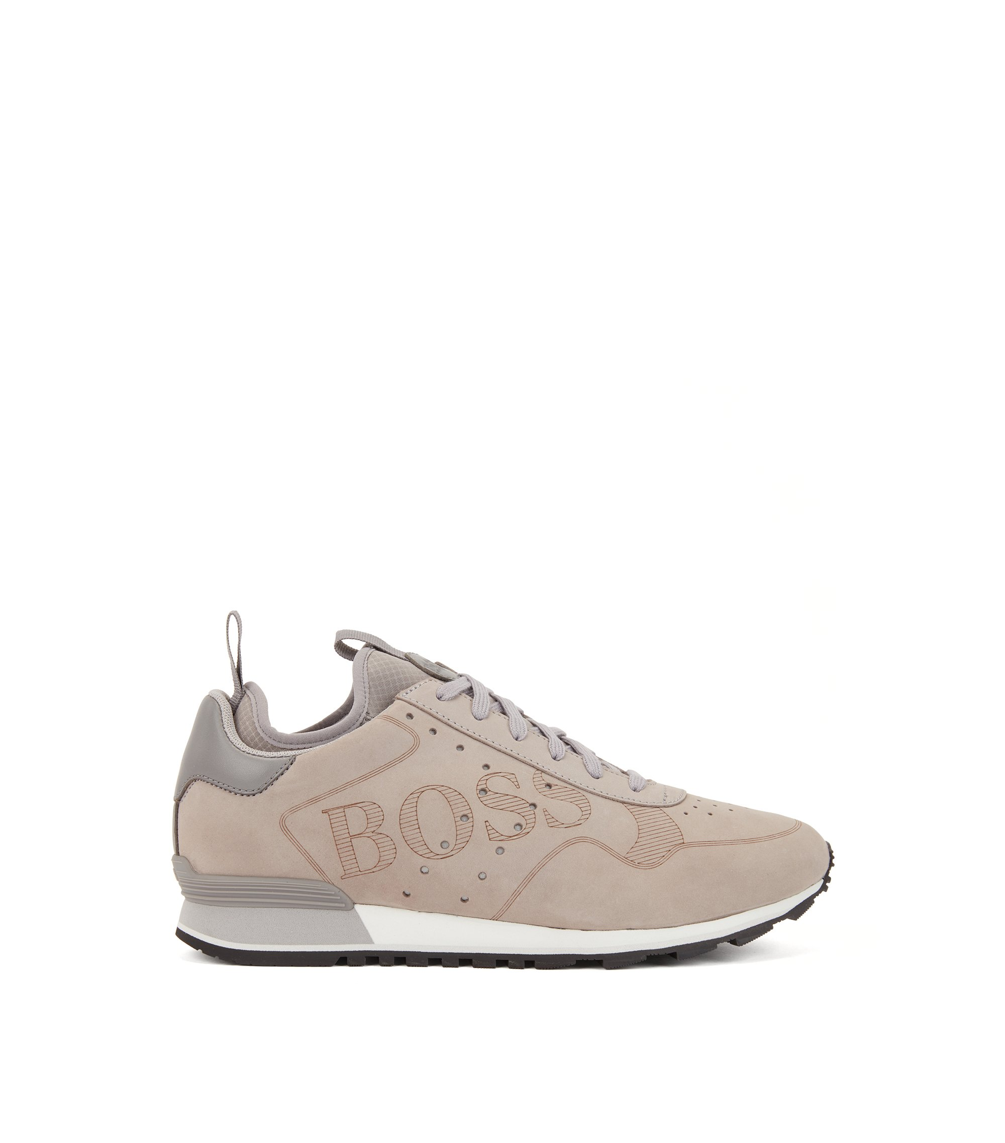 Lace-up sneakers in leather with laser-cut logo, Grey