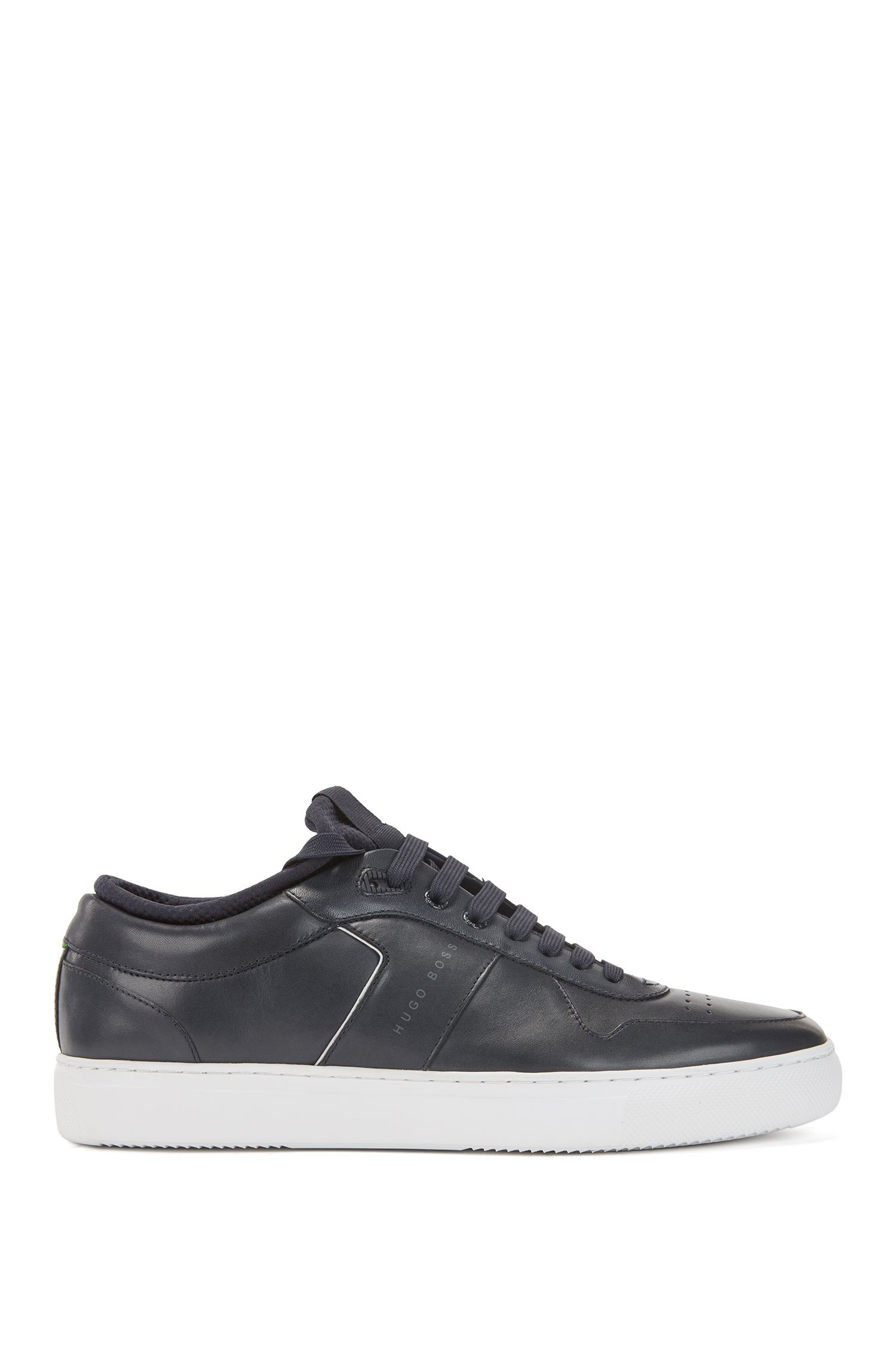 Tennis-style sneakers in nappa calf leather, Dark Blue