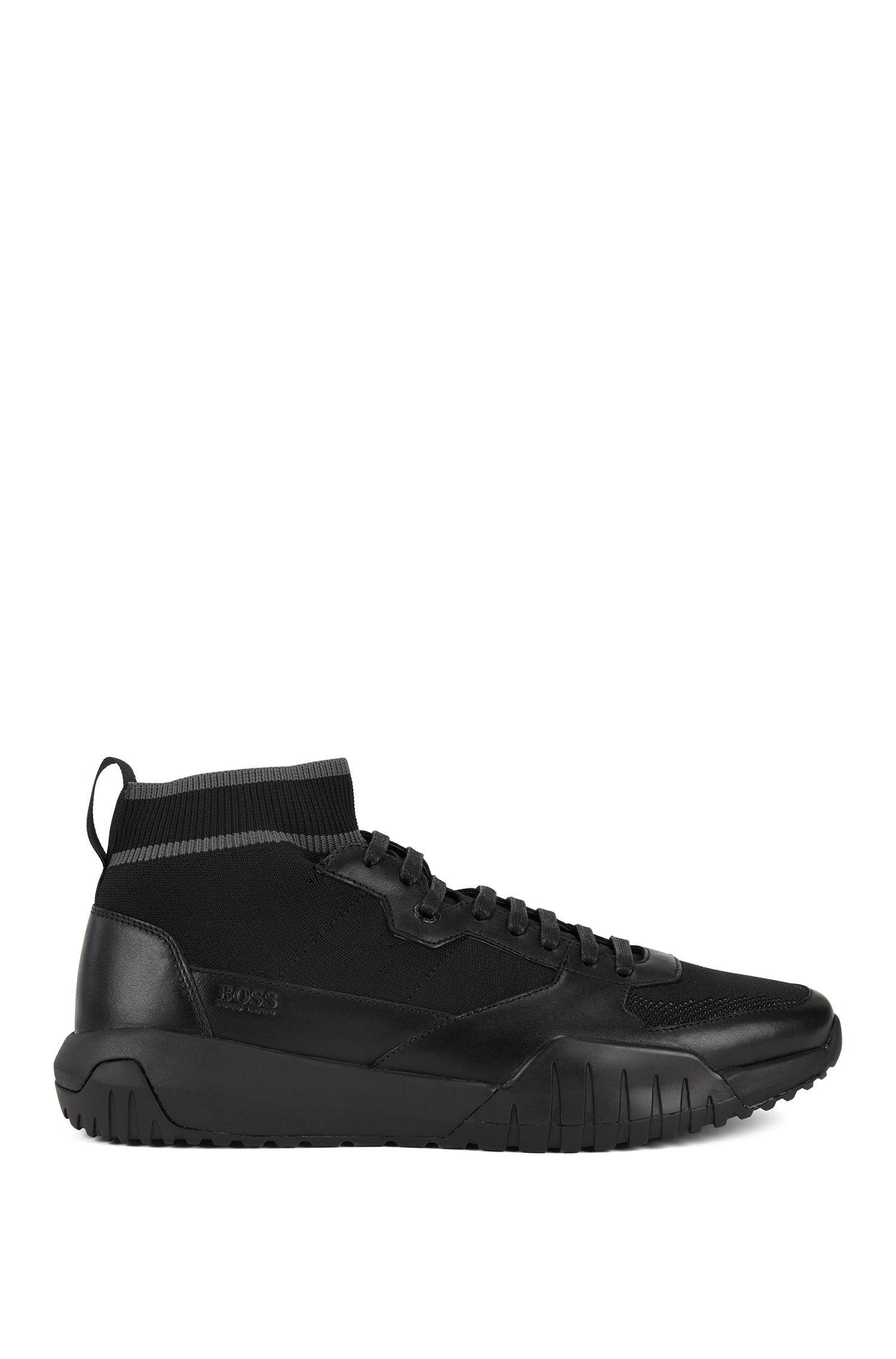 High-top sock sneakers with calf-leather trims, Black