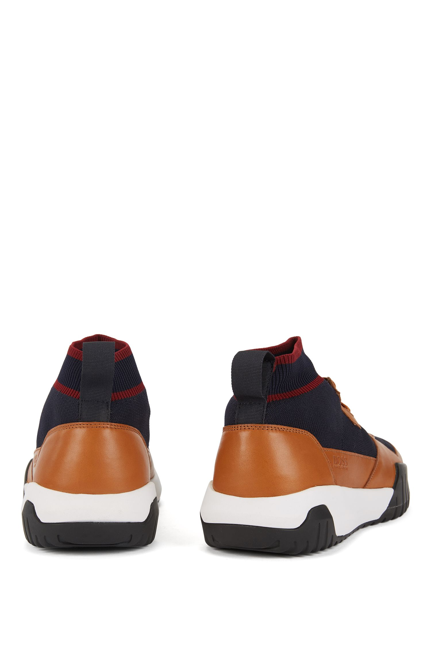 High-top sock sneakers with calf-leather trims, Open Brown