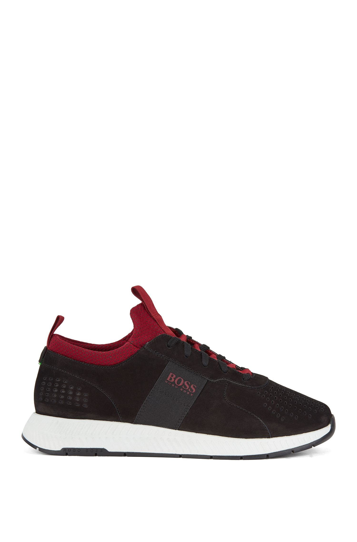 Running-inspired sneakers in perforated nubuck leather, Black