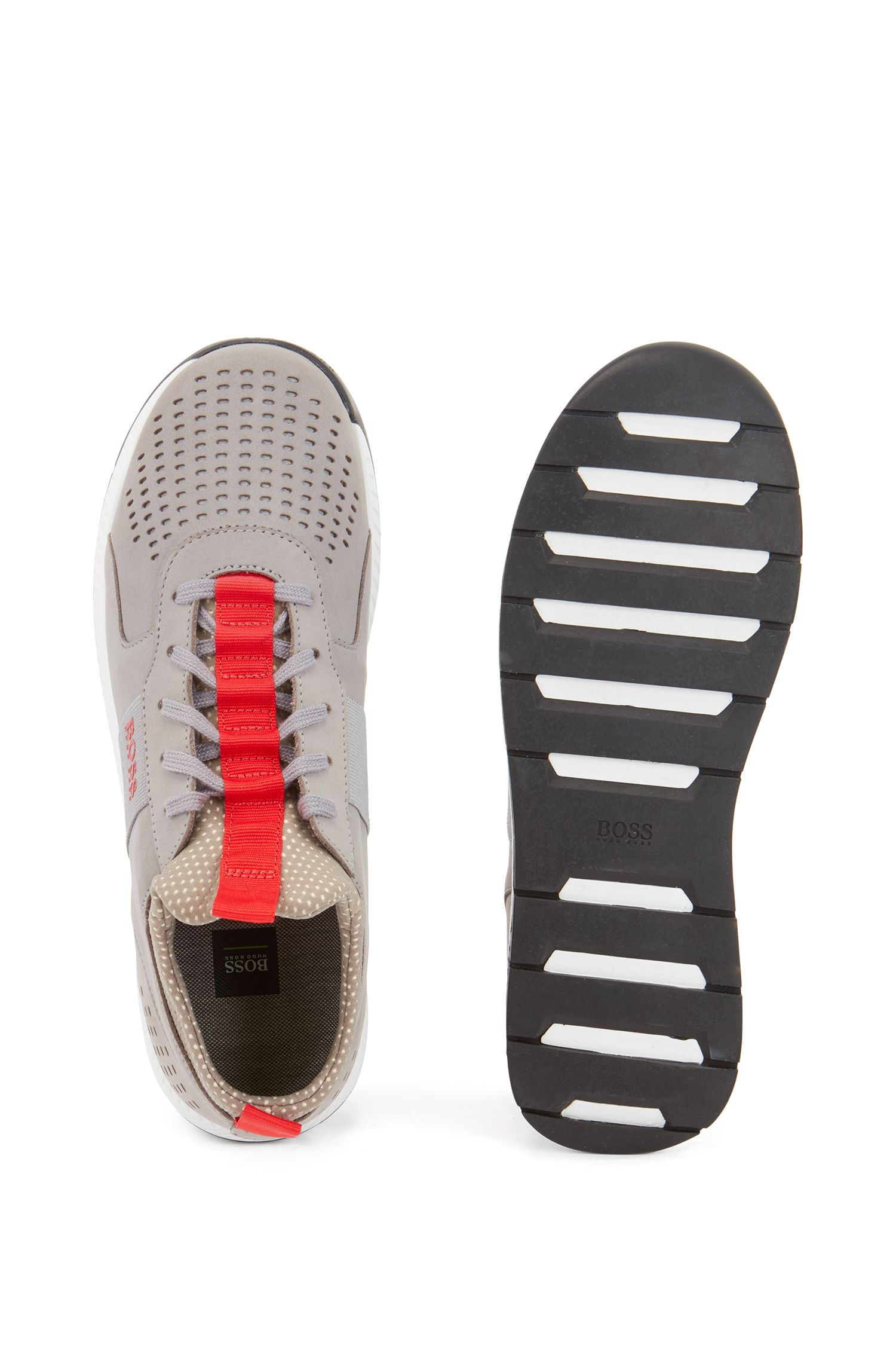 Running-inspired sneakers in perforated nubuck leather, Grey