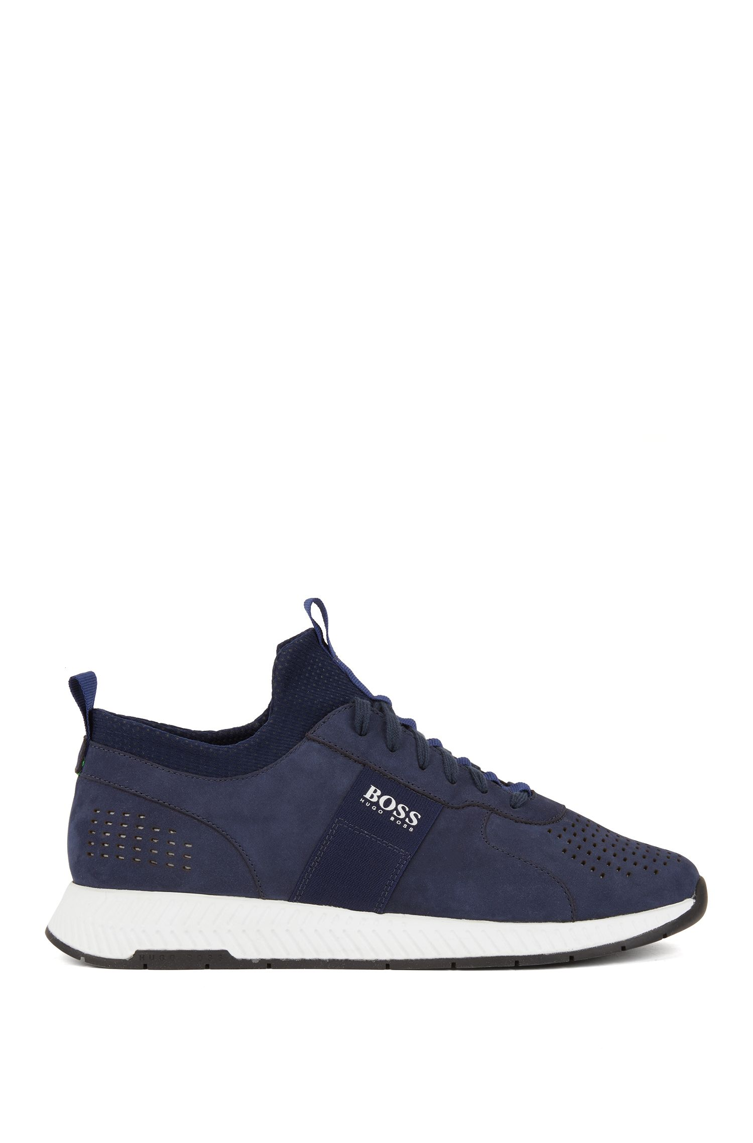 Running-inspired sneakers in perforated nubuck leather, Dark Blue