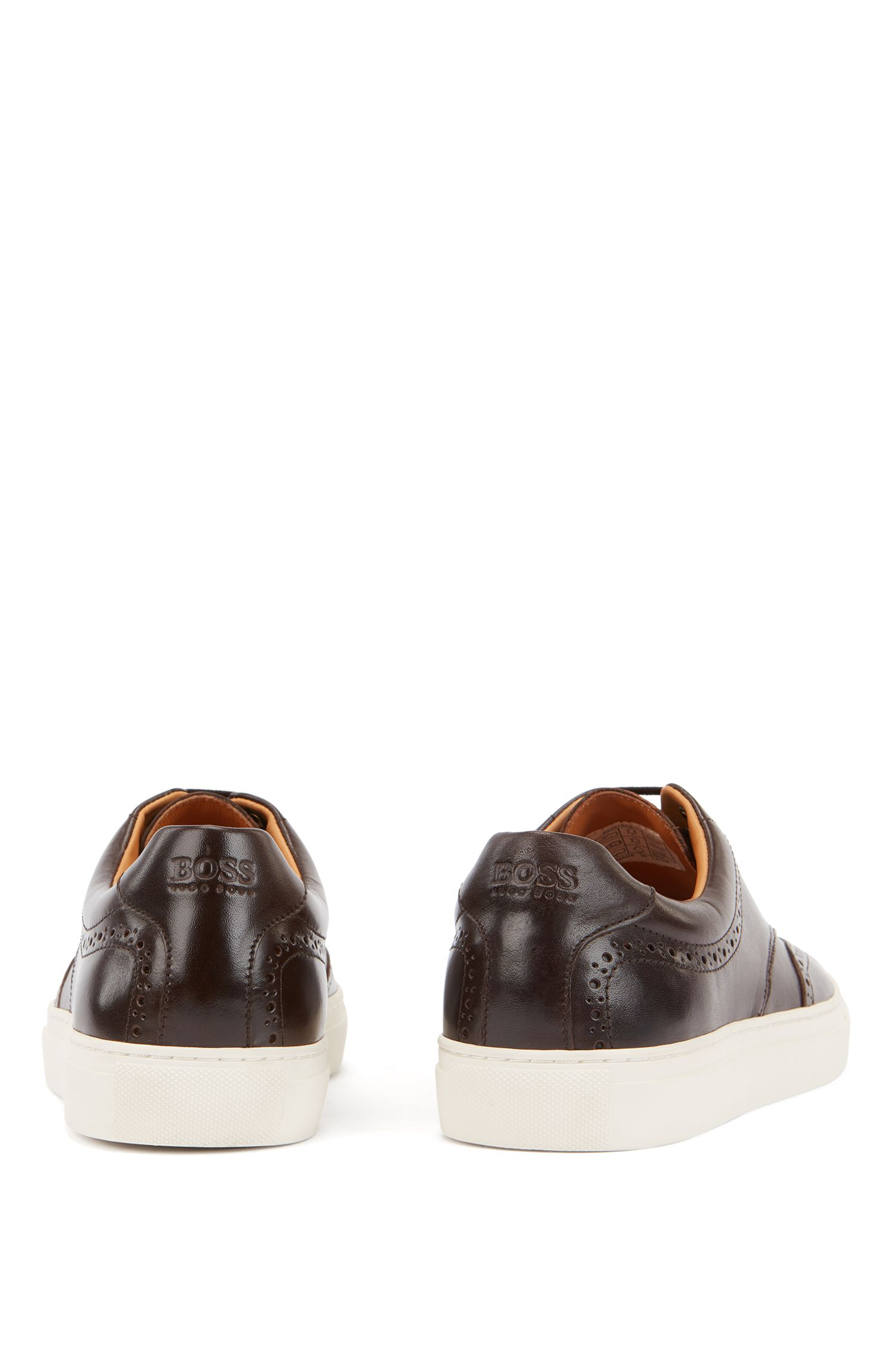 Derby-style sneakers in calf leather with brogue details, Dark Brown
