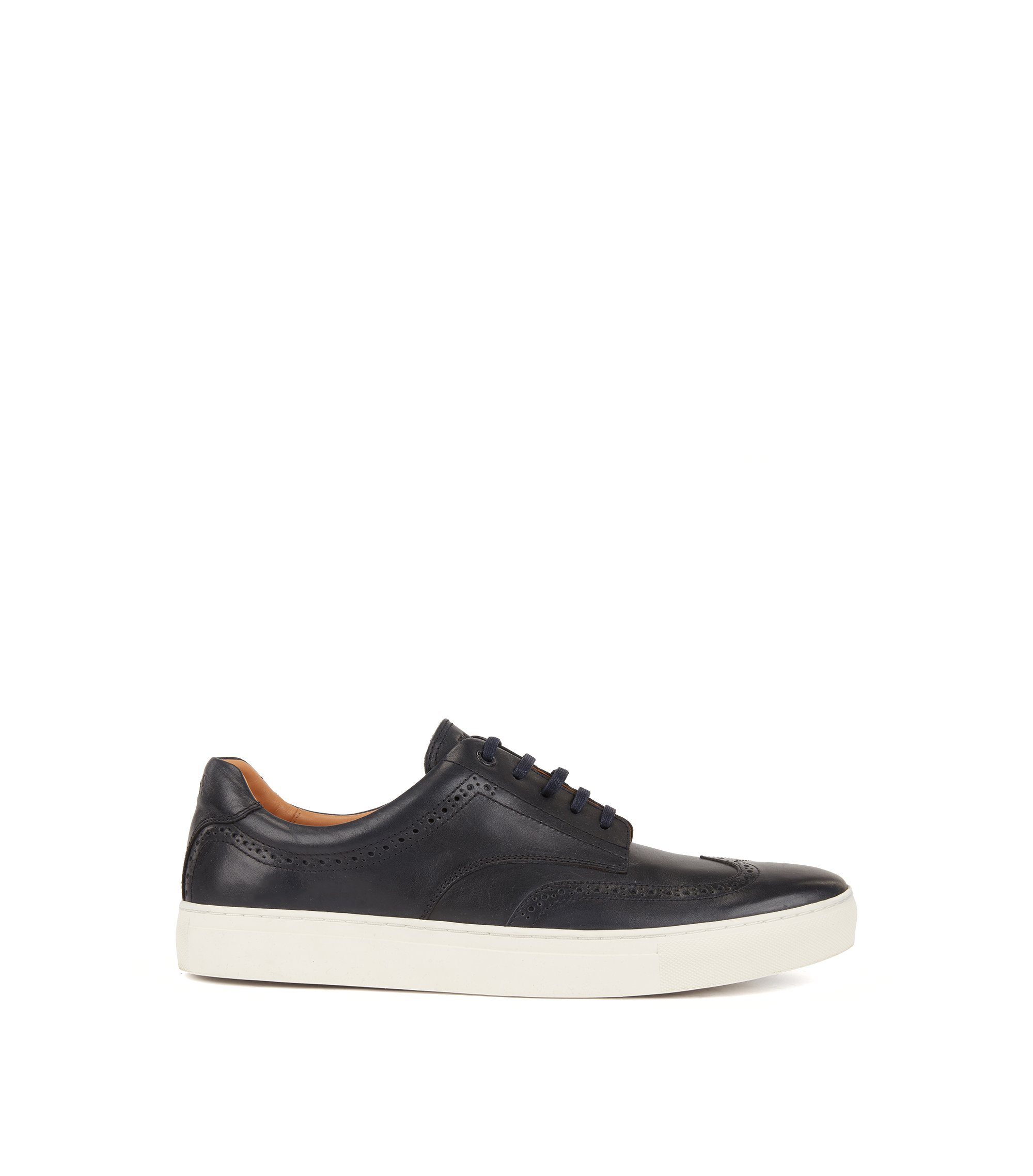 Derby-style sneakers in calf leather with brogue details, Dark Blue