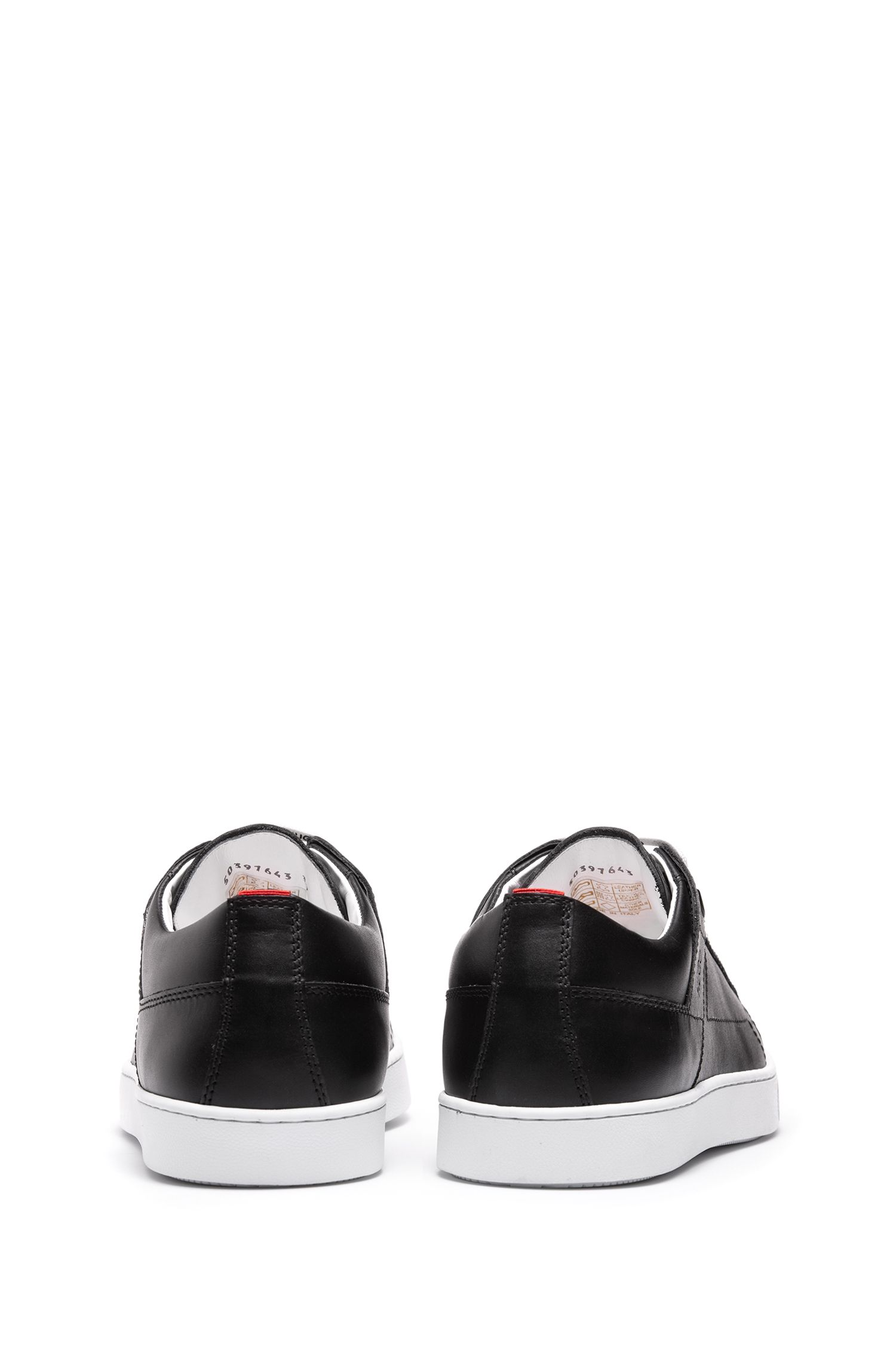 Low-top sneakers in Italian leather with statement logo, Black