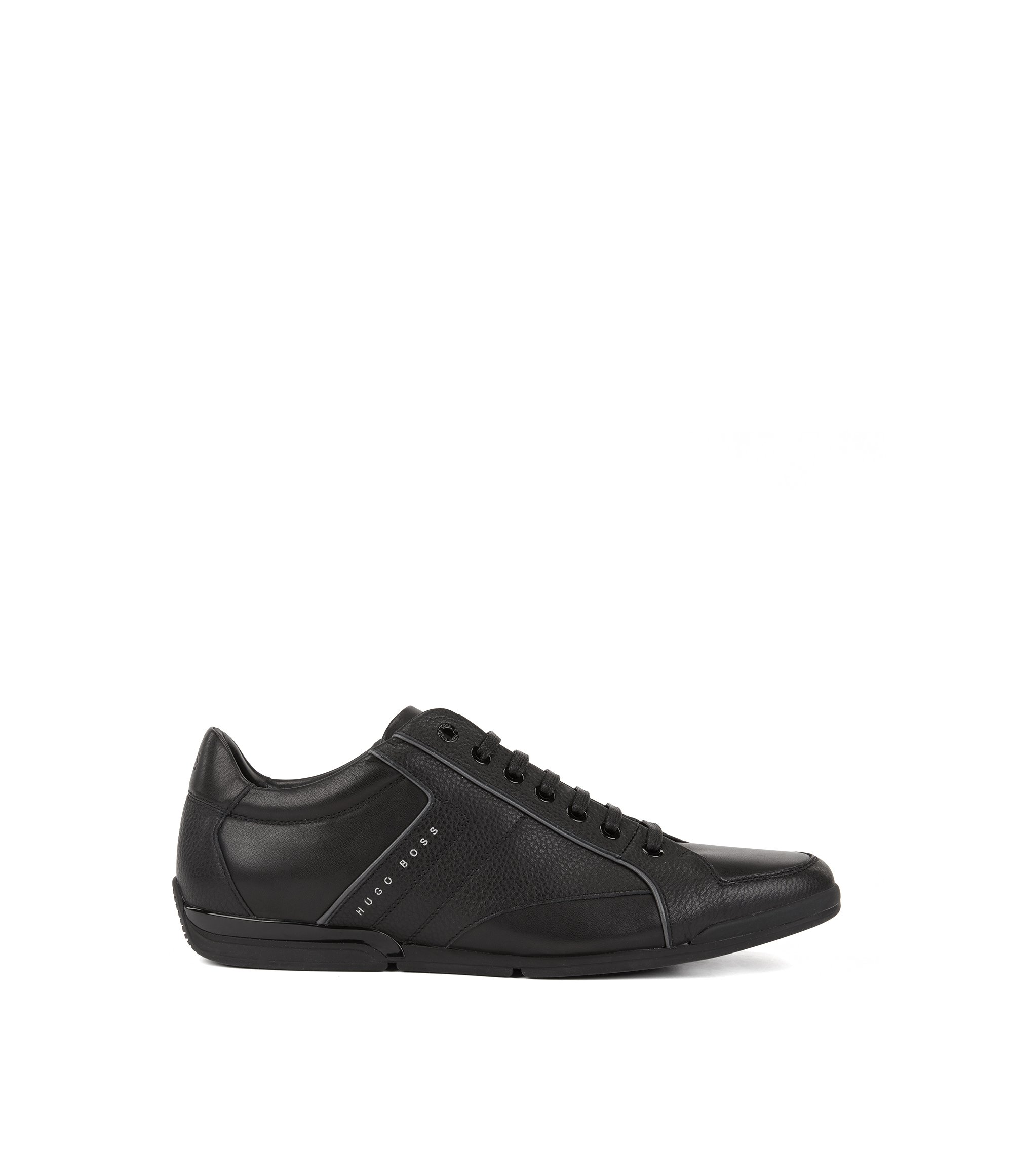 Low-top sneakers in tumbled and nappa leather, Black