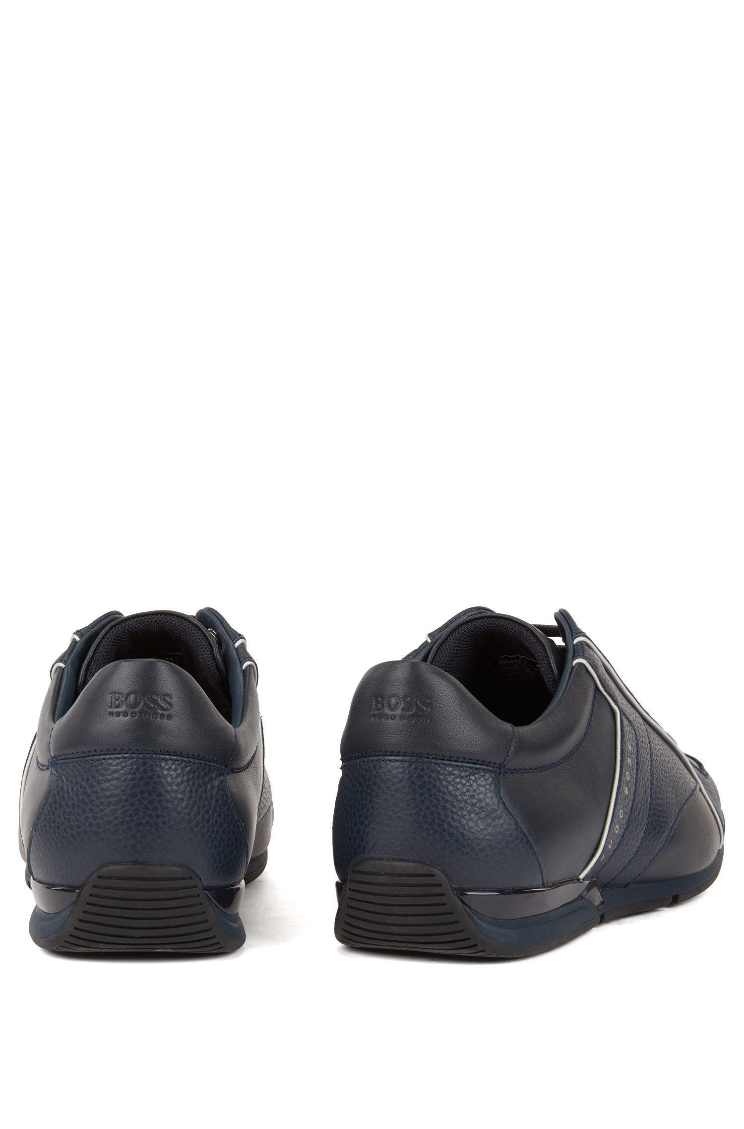 Low-top sneakers in tumbled and nappa leather, Dark Blue