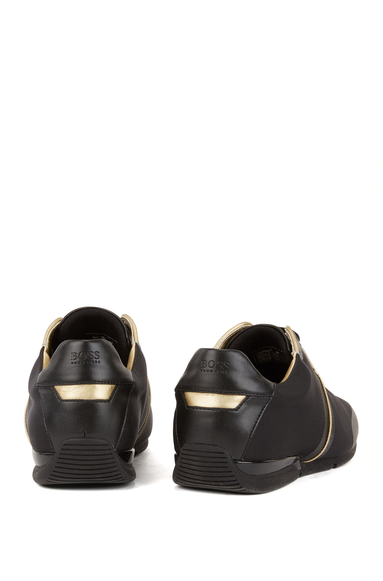 Low-top sneakers in structured technical fabric, Black