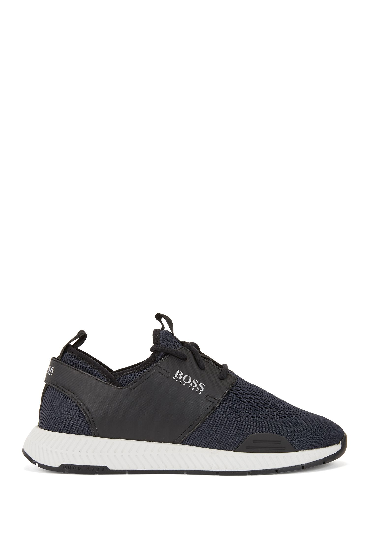 Running-inspired sneakers with mesh uppers, Dark Blue
